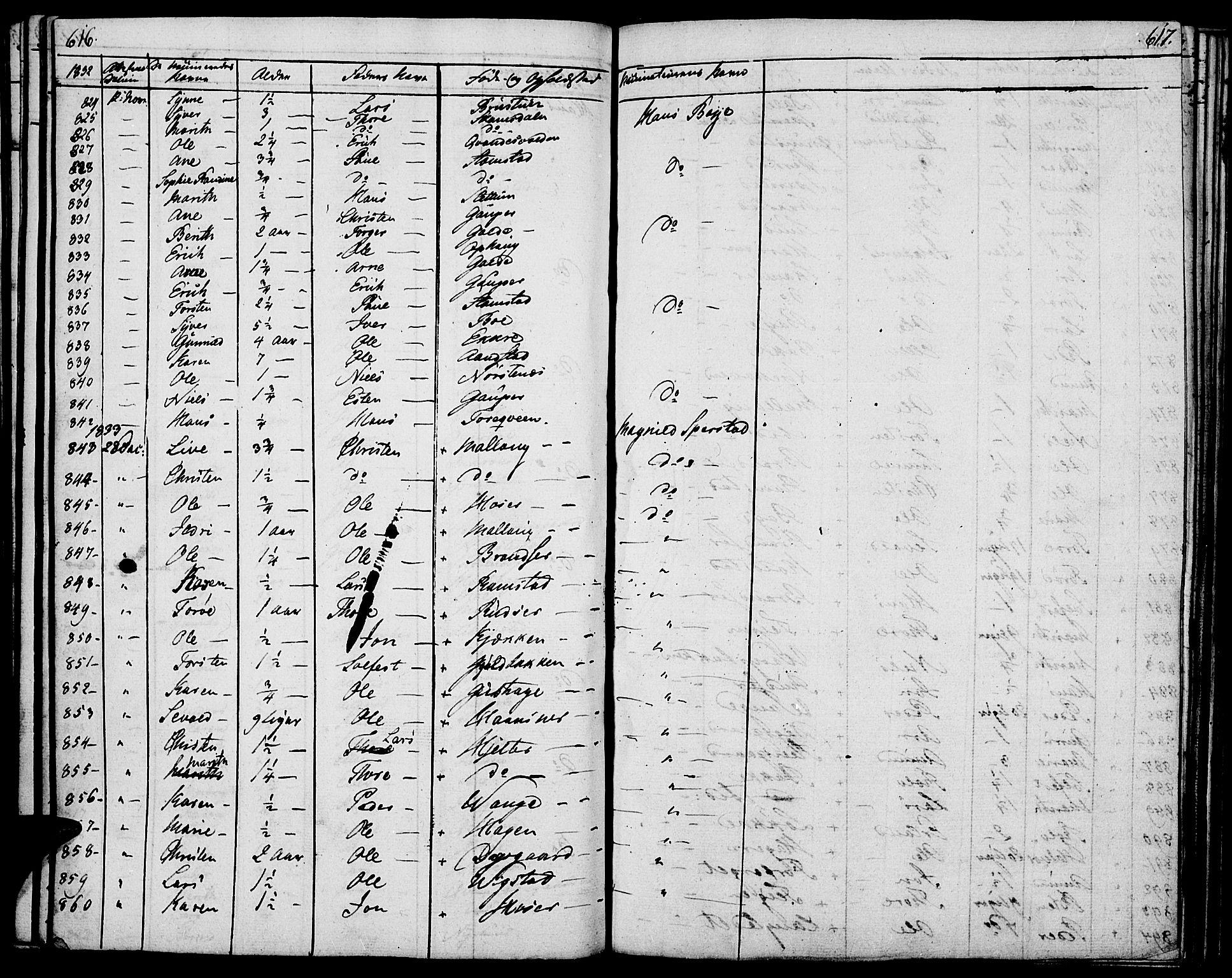 SAH, Lom prestekontor, K/L0005: Ministerialbok nr. 5, 1825-1837, s. 616-617
