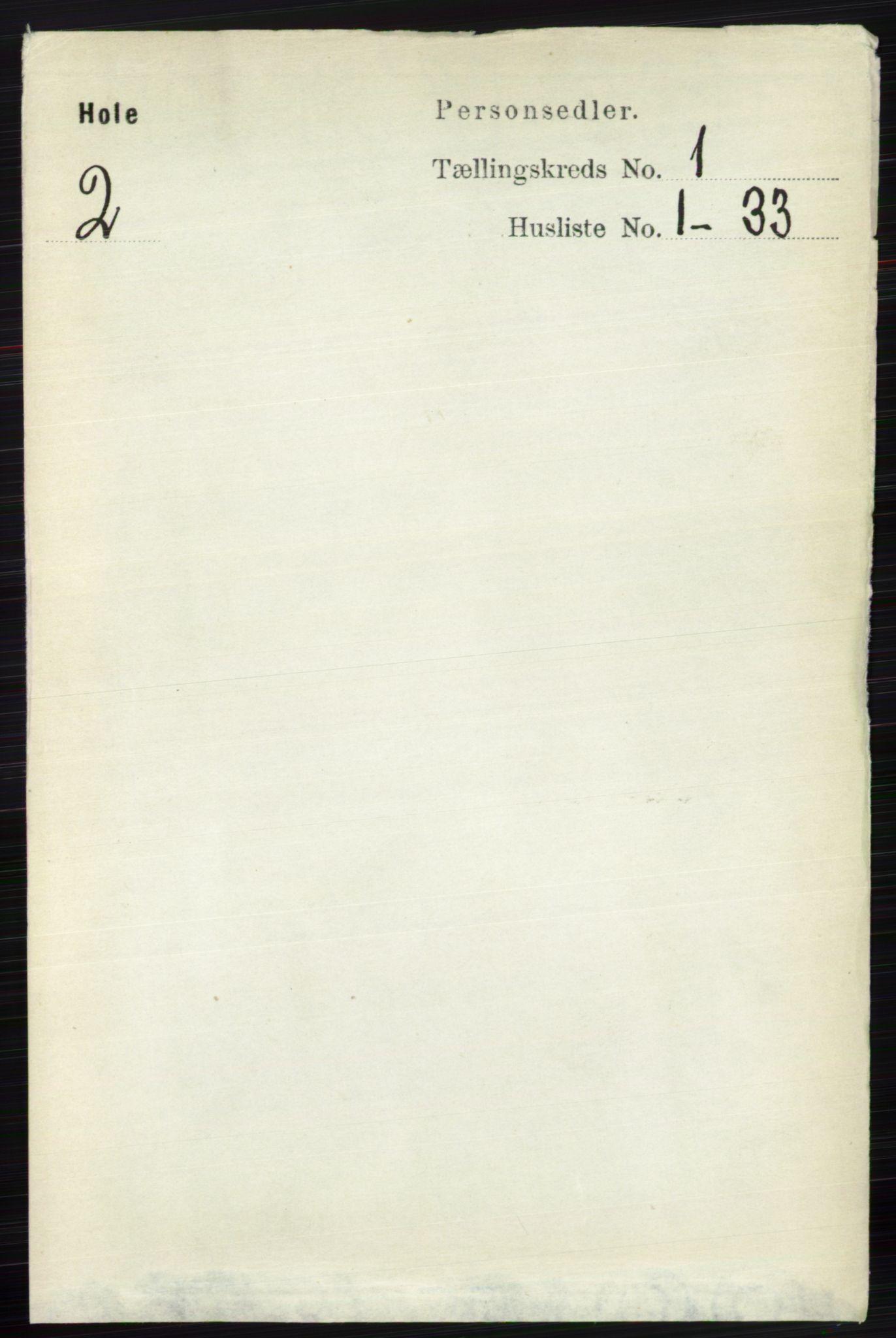 RA, Folketelling 1891 for 0612 Hole herred, 1891, s. 127
