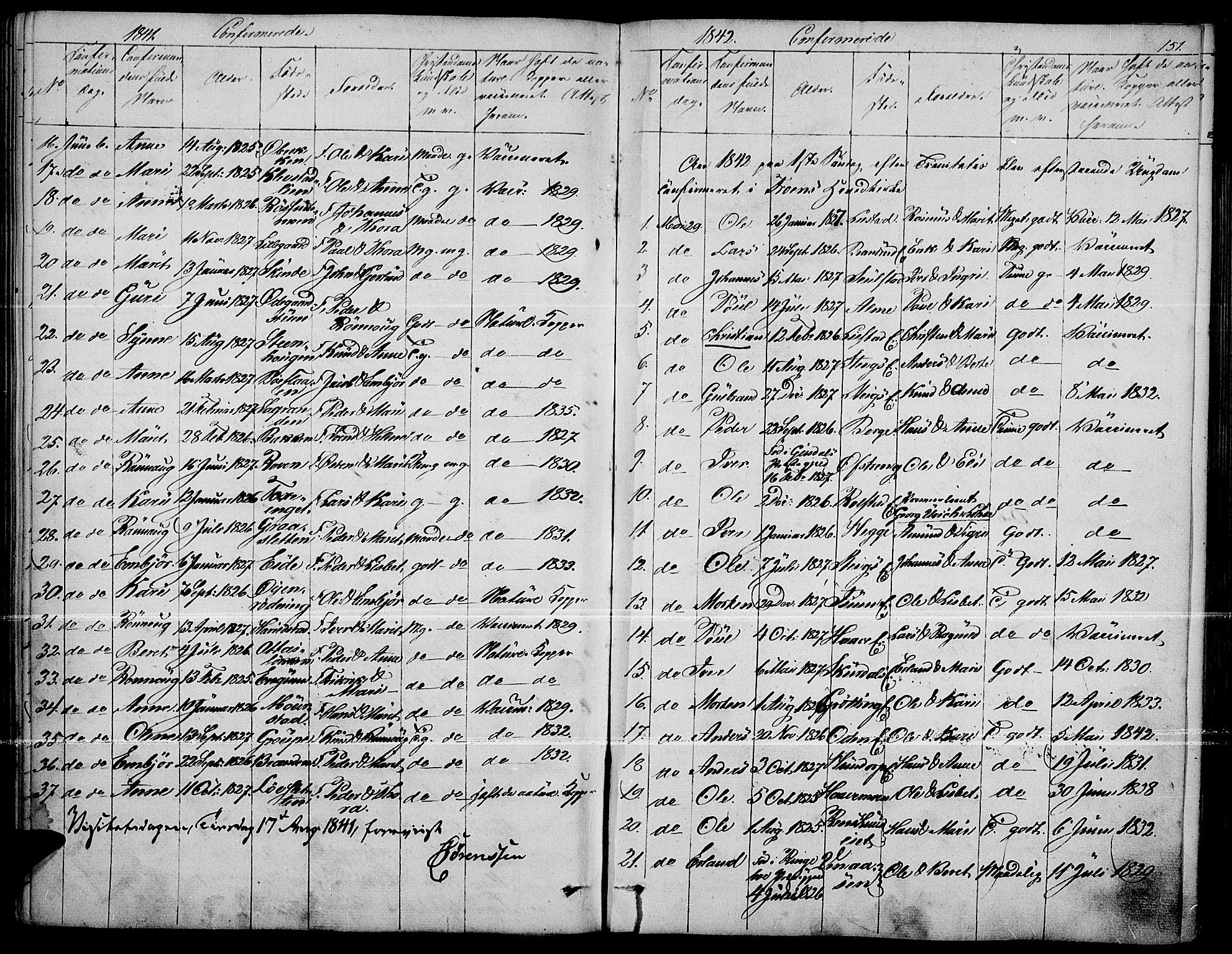 SAH, Fron prestekontor, H/Ha/Haa/L0004: Ministerialbok nr. 4, 1839-1848, s. 151