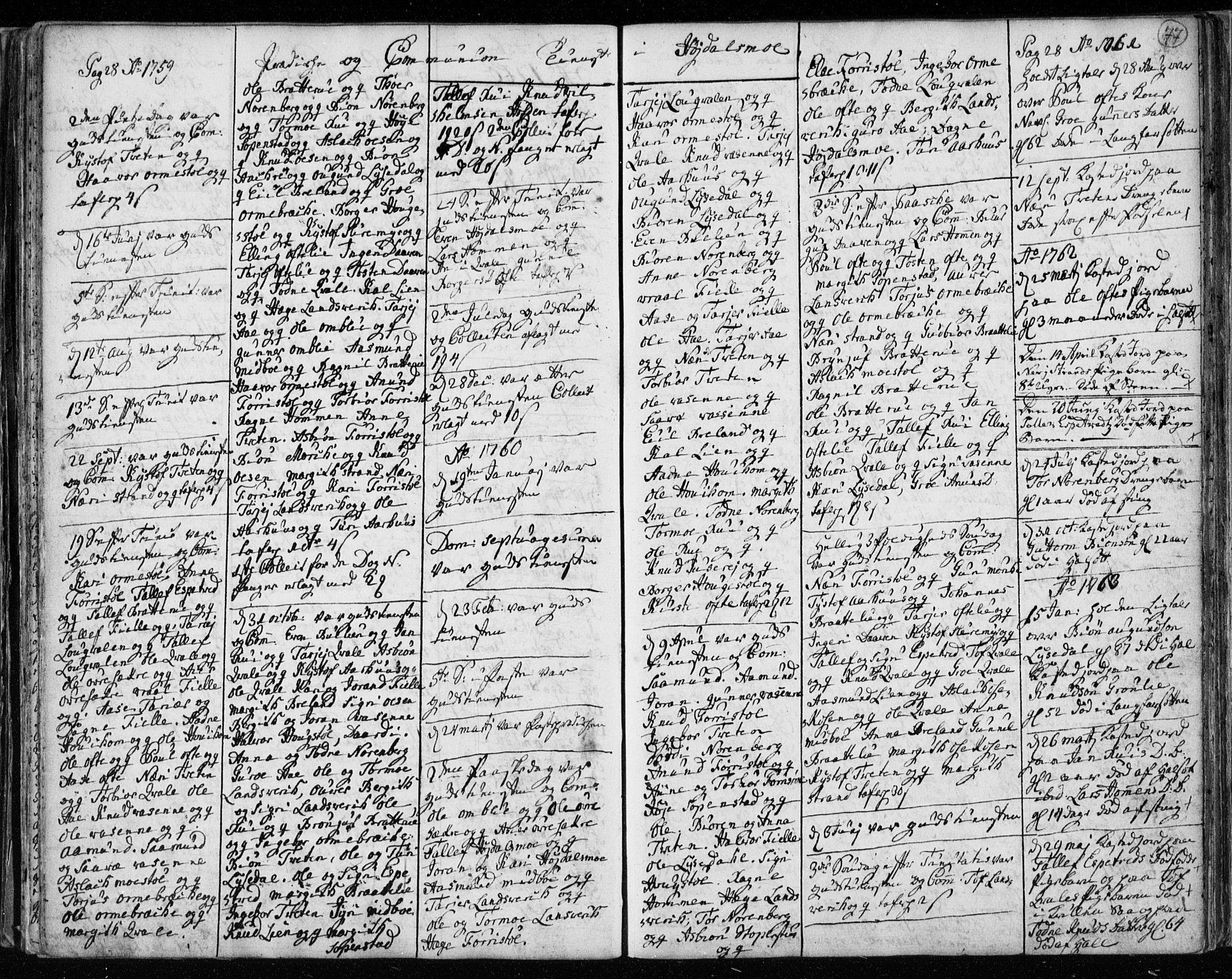 SAKO, Lårdal kirkebøker, F/Fa/L0003: Ministerialbok nr. I 3, 1754-1790, s. 77