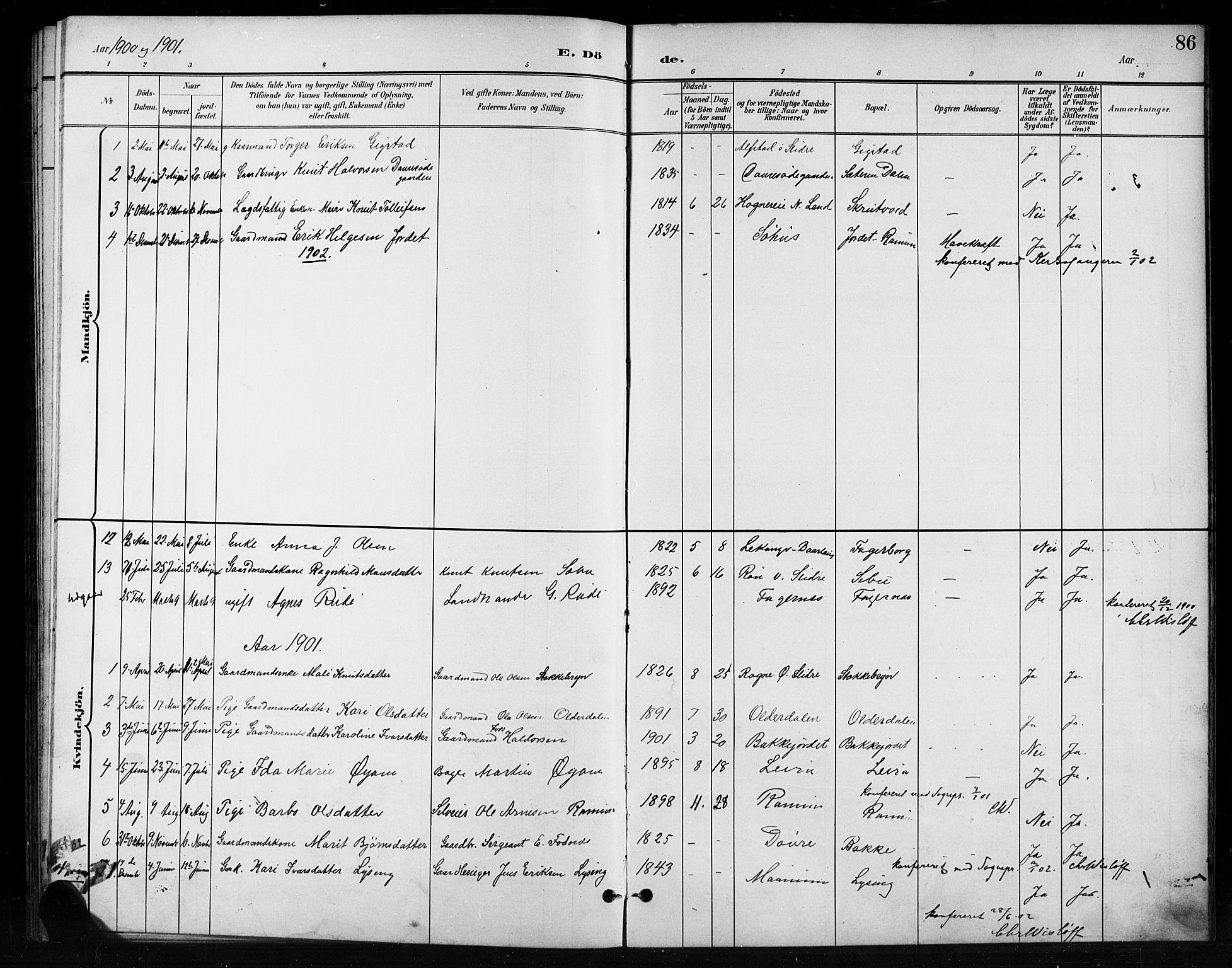 SAH, Nord-Aurdal prestekontor, Klokkerbok nr. 11, 1897-1918, s. 86