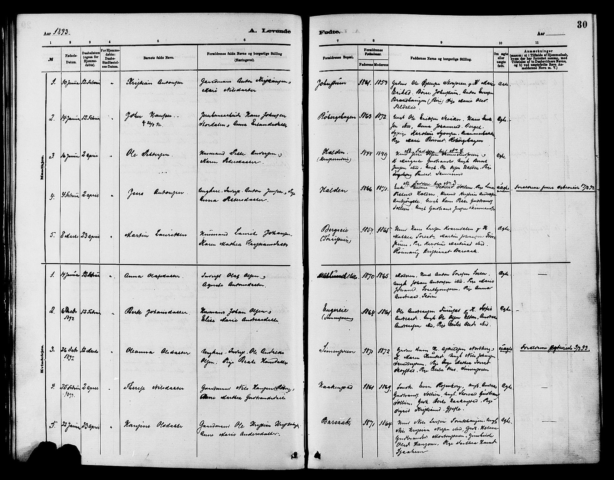 SAH, Nordre Land prestekontor, Ministerialbok nr. 3, 1882-1896, s. 30