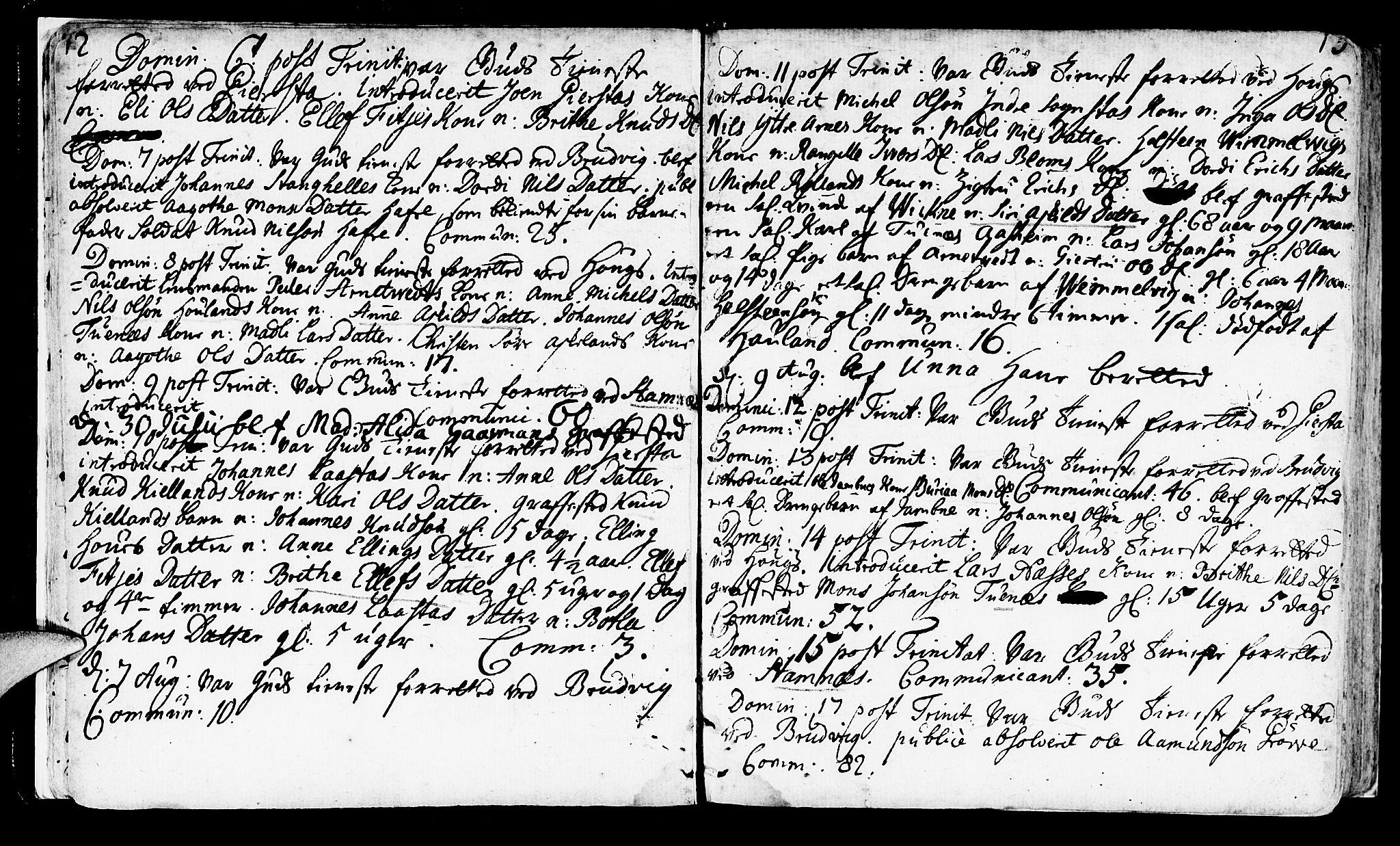 SAB, Haus sokneprestembete, H/Haa: Ministerialbok nr. A 4, 1723-1733, s. 12-13