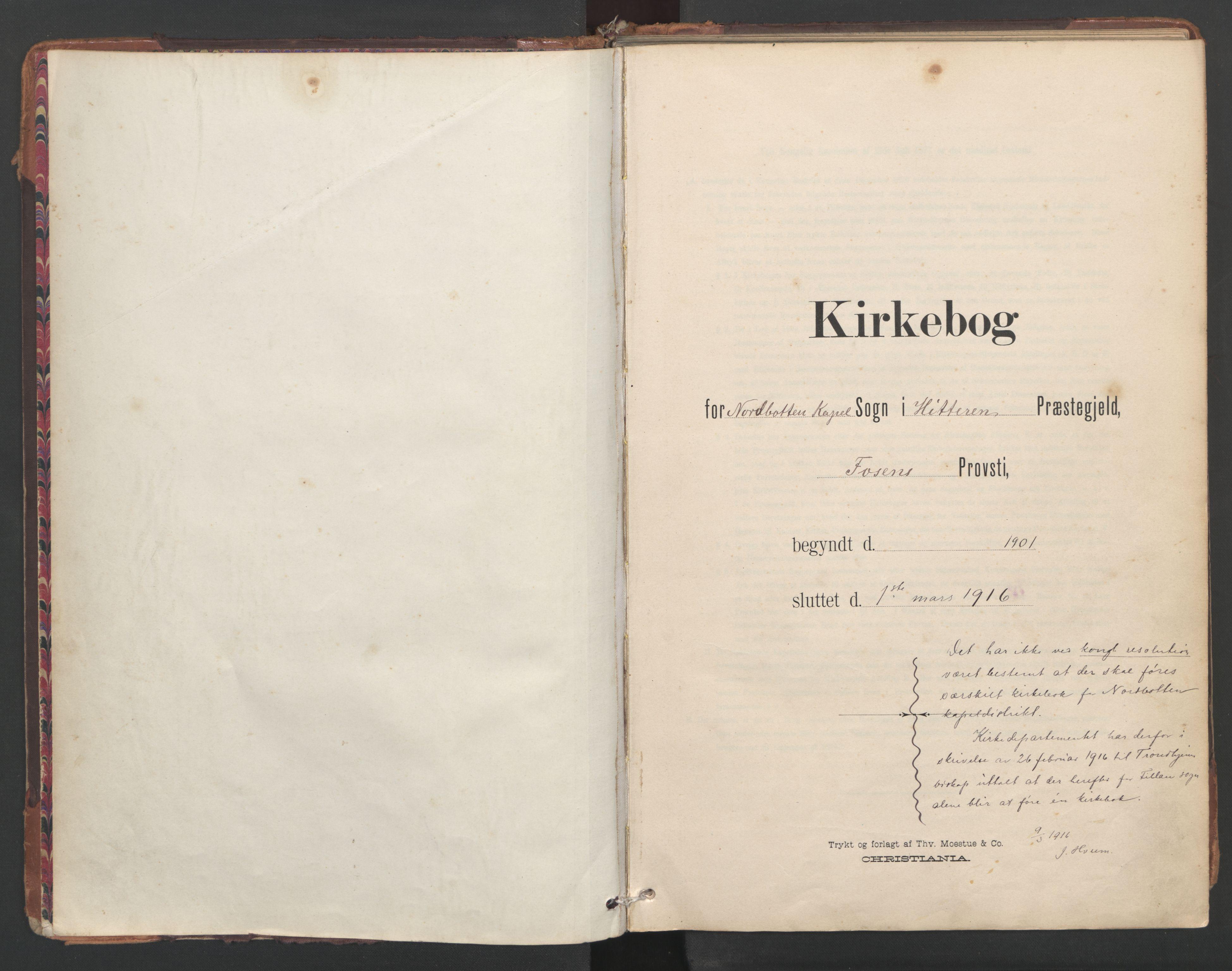SAT, Ministerialprotokoller, klokkerbøker og fødselsregistre - Sør-Trøndelag, 638/L0568: Ministerialbok nr. 638A01, 1901-1916
