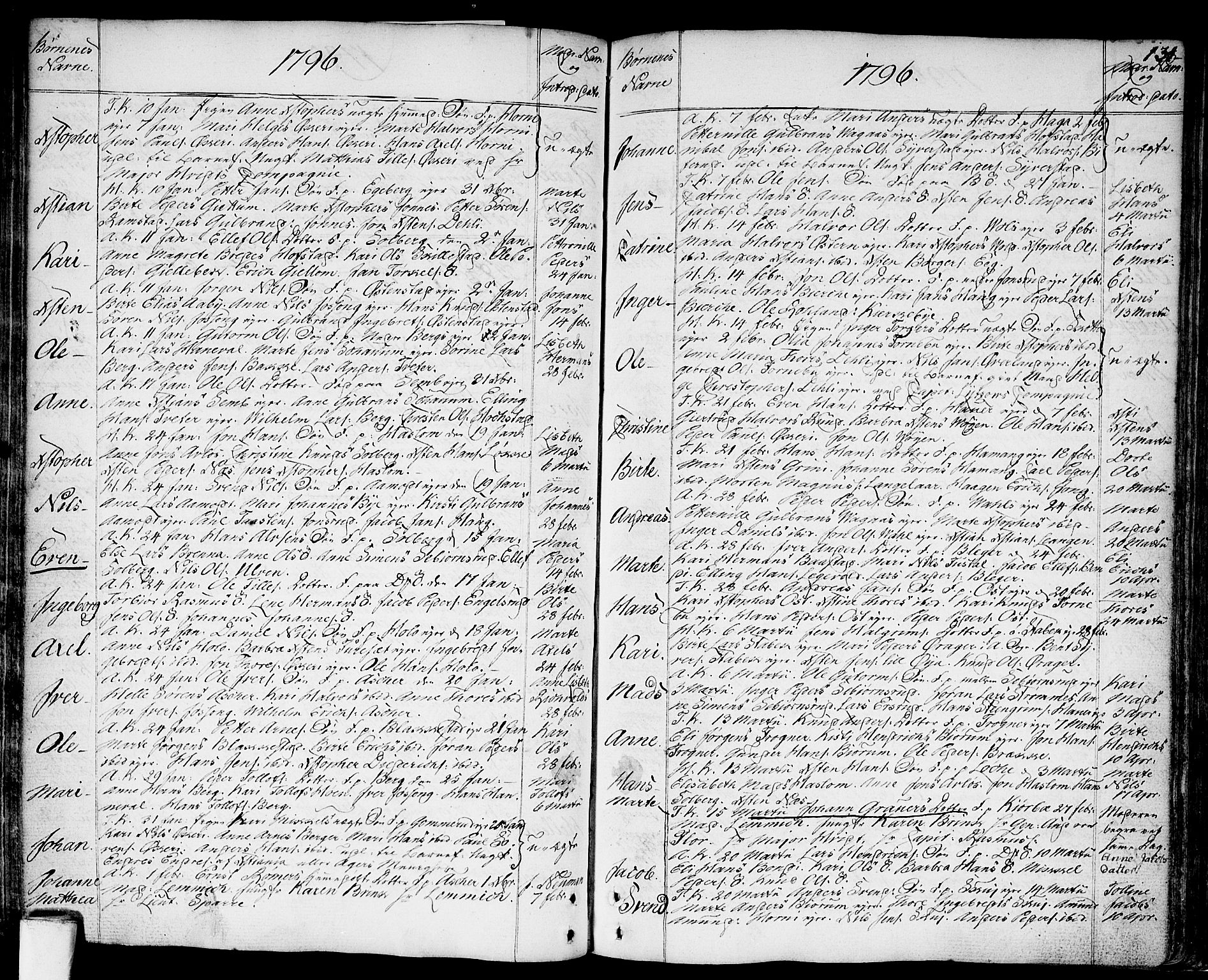 SAO, Asker prestekontor Kirkebøker, F/Fa/L0003: Ministerialbok nr. I 3, 1767-1807, s. 134