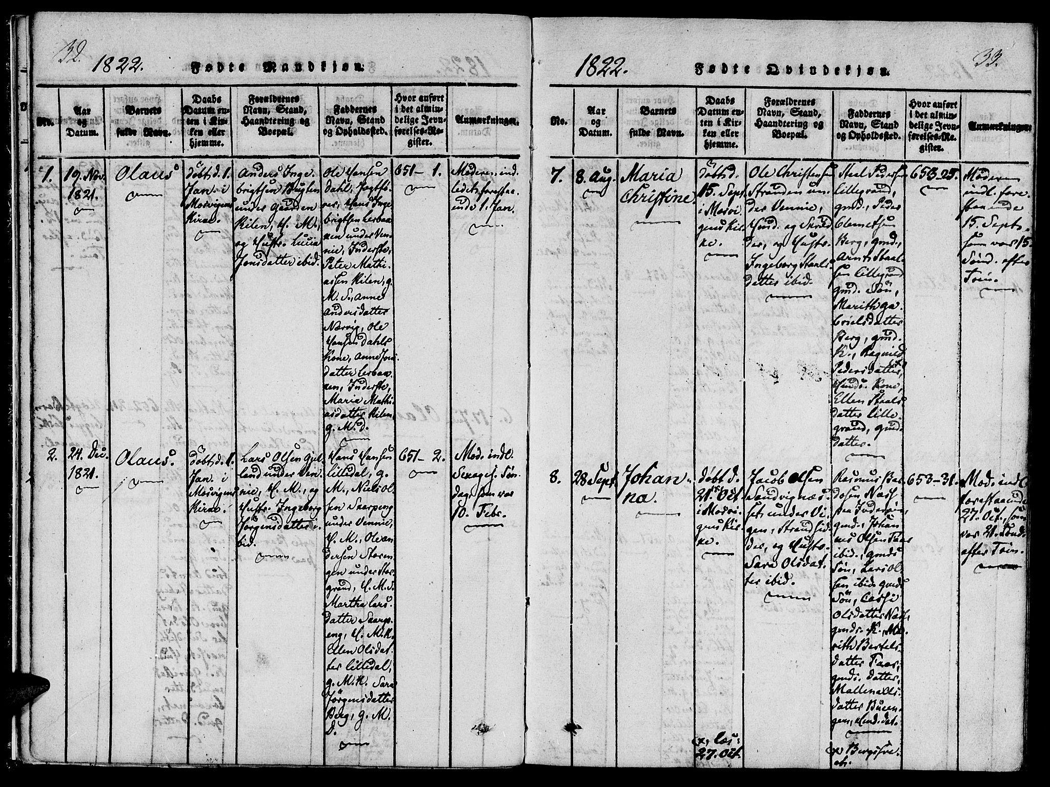 SAT, Ministerialprotokoller, klokkerbøker og fødselsregistre - Nord-Trøndelag, 733/L0322: Ministerialbok nr. 733A01, 1817-1842, s. 32-33