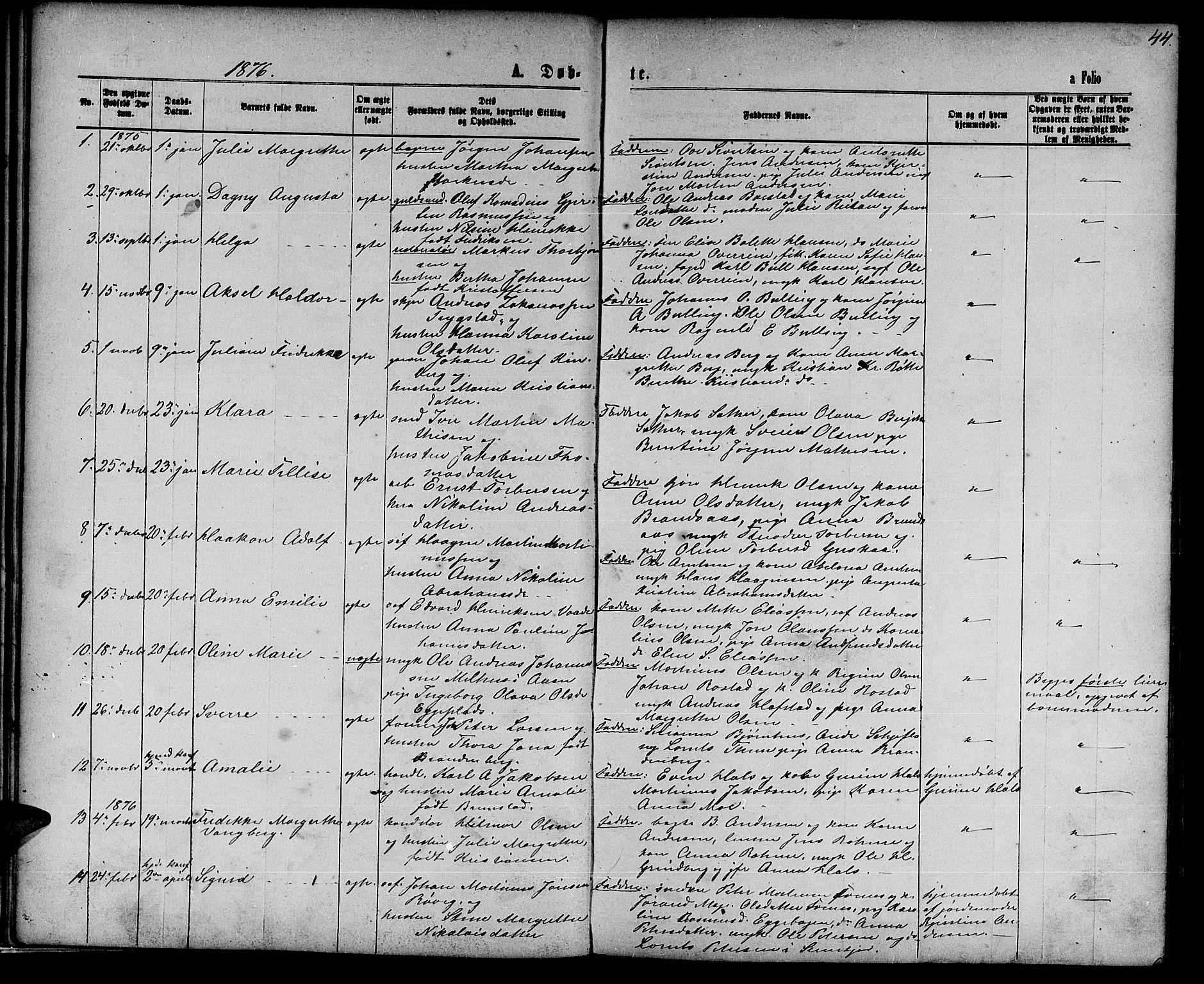 SAT, Ministerialprotokoller, klokkerbøker og fødselsregistre - Nord-Trøndelag, 739/L0373: Klokkerbok nr. 739C01, 1865-1882, s. 44