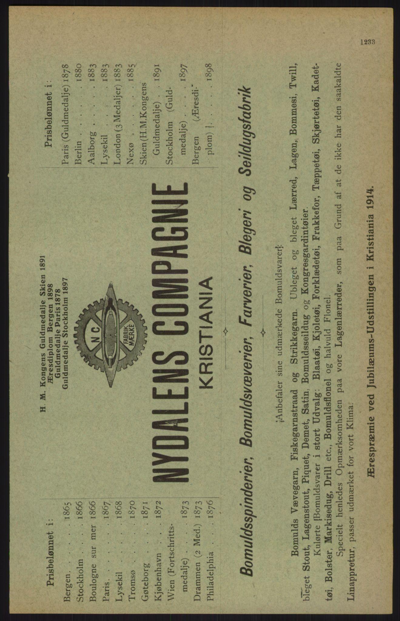 RA, Kristiania adressebok (publikasjon)*, 1915, s. 1233