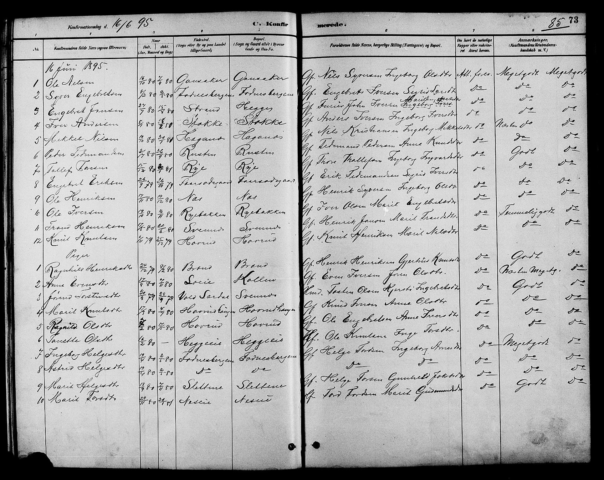 SAH, Nord-Aurdal prestekontor, Klokkerbok nr. 7, 1883-1910, s. 85