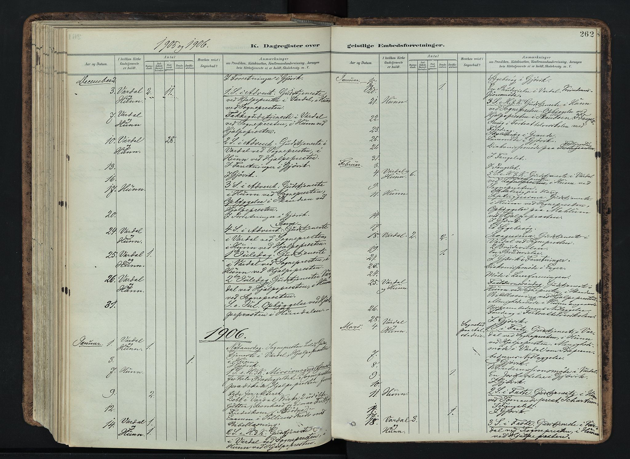 SAH, Vardal prestekontor, H/Ha/Haa/L0019: Ministerialbok nr. 19, 1893-1907, s. 262