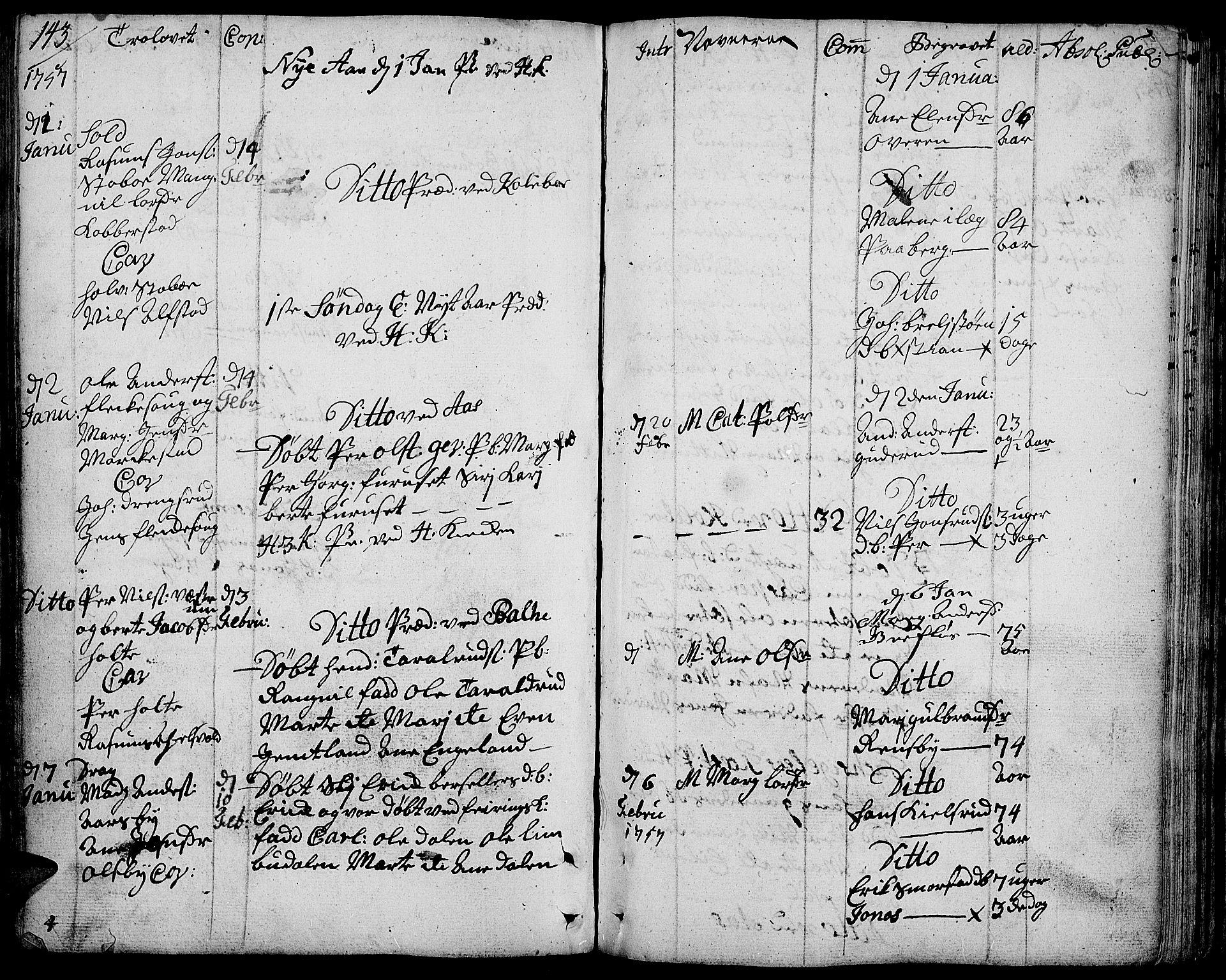 SAH, Toten prestekontor, Ministerialbok nr. 4, 1751-1761, s. 143