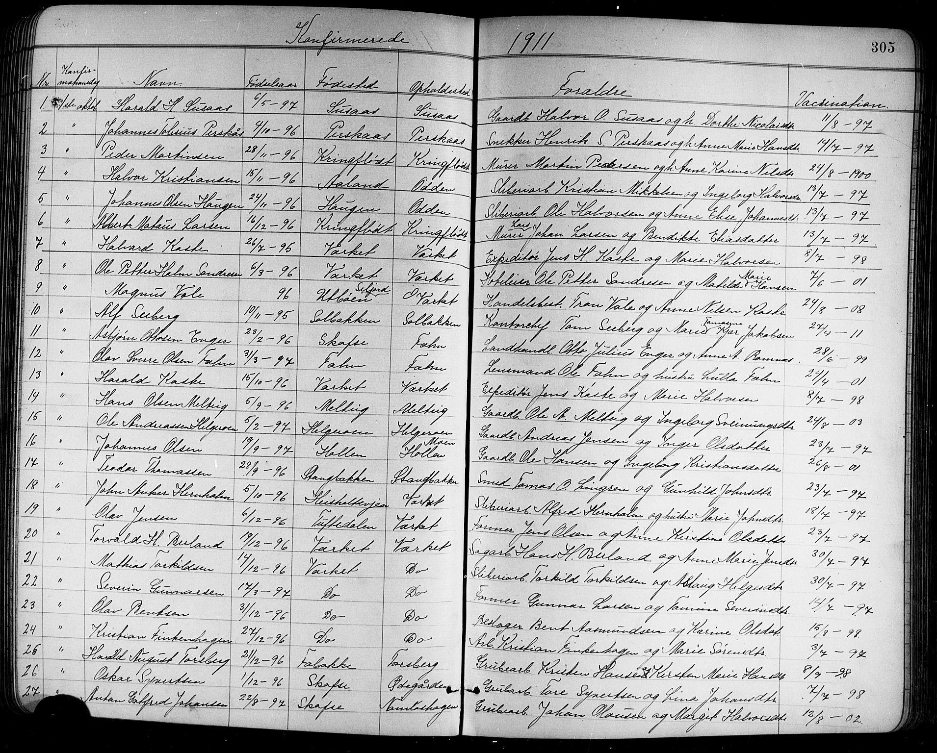 SAKO, Holla kirkebøker, G/Ga/L0005: Klokkerbok nr. I 5, 1891-1917, s. 305
