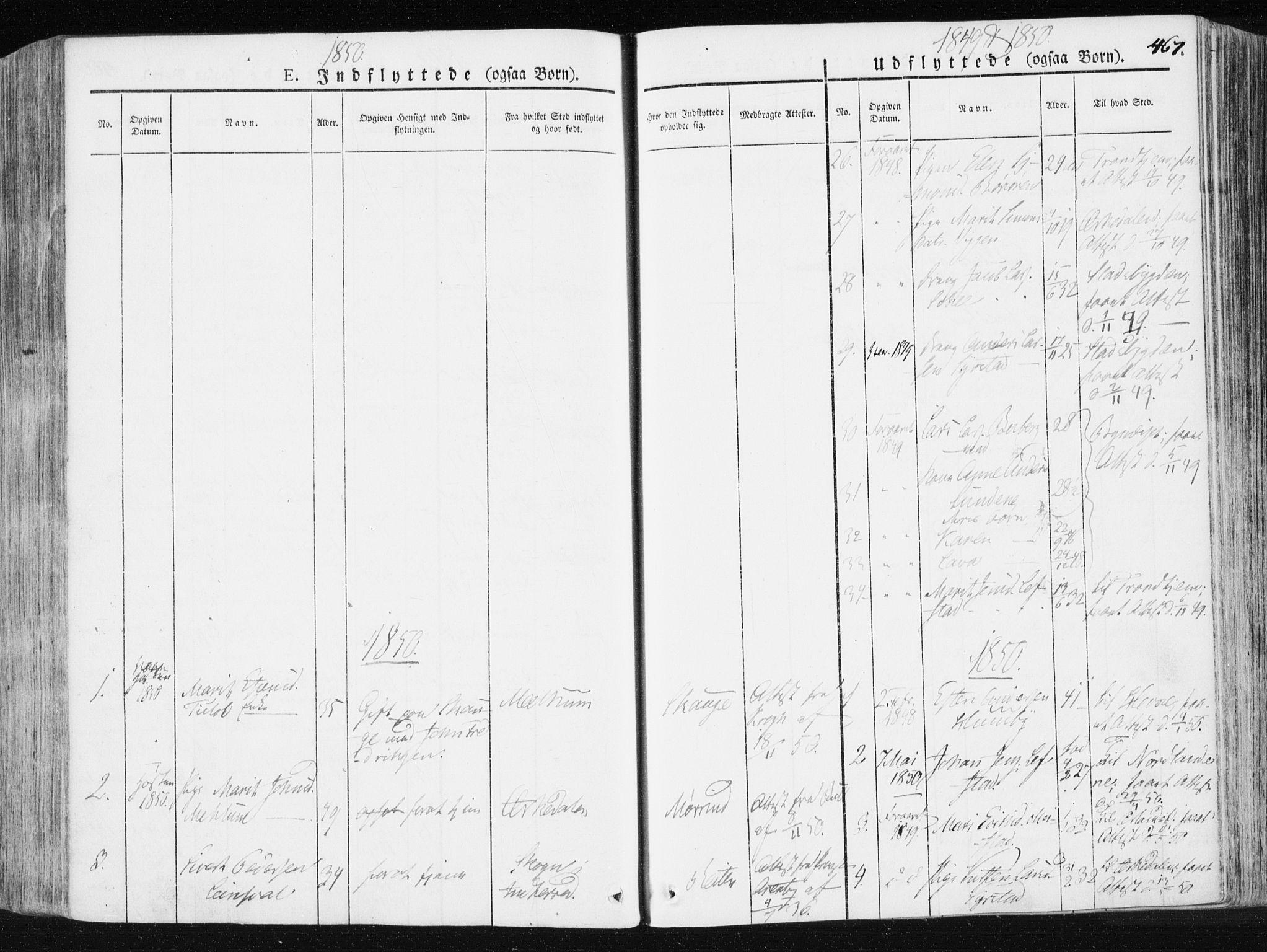SAT, Ministerialprotokoller, klokkerbøker og fødselsregistre - Sør-Trøndelag, 665/L0771: Ministerialbok nr. 665A06, 1830-1856, s. 467