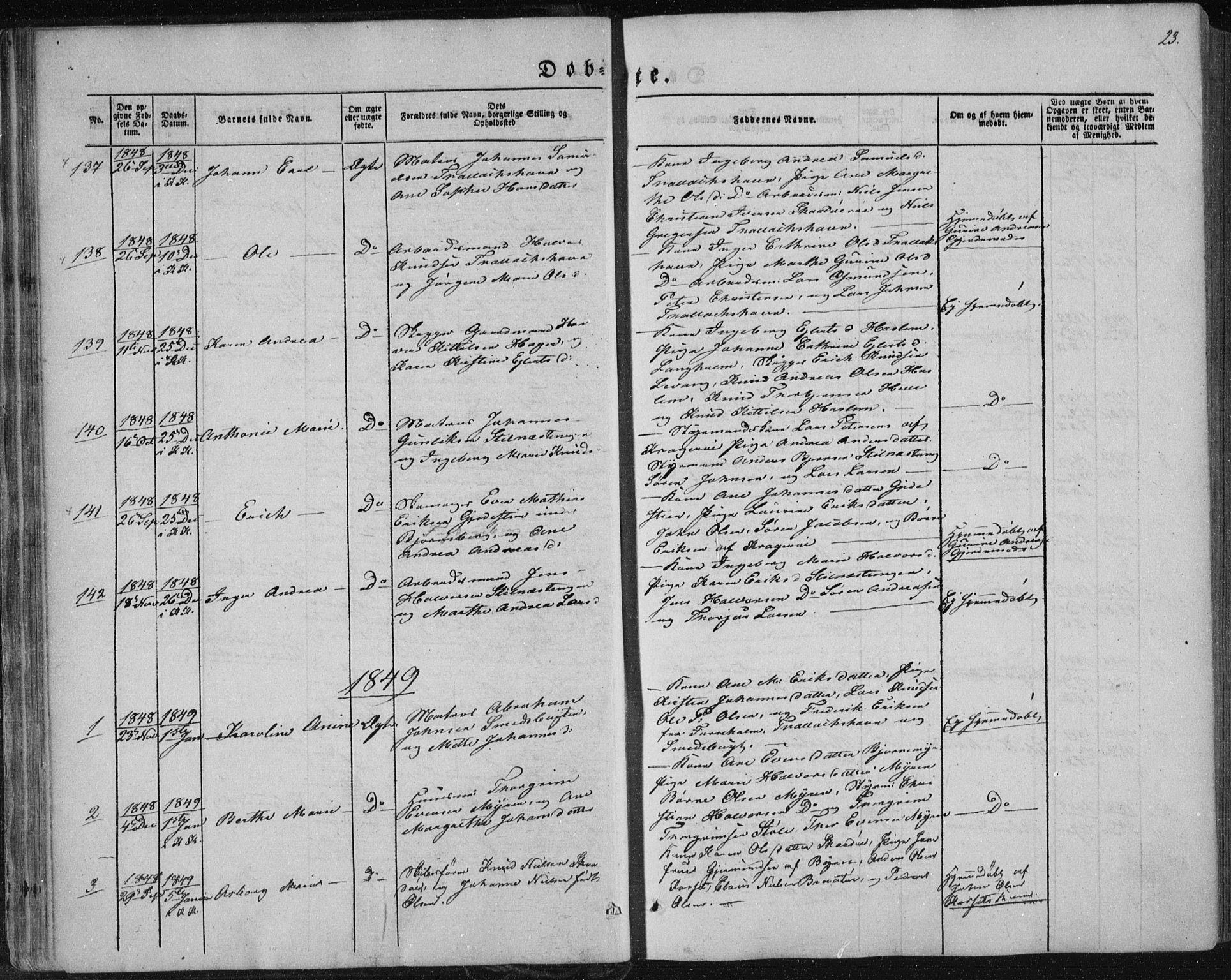 SAKO, Sannidal kirkebøker, F/Fa/L0008: Ministerialbok nr. 8, 1847-1862, s. 23