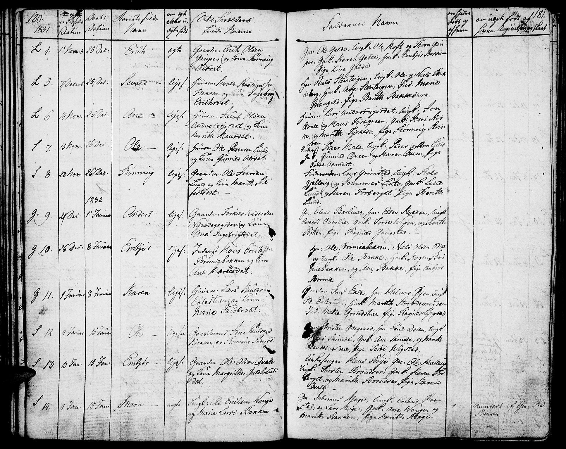 SAH, Lom prestekontor, K/L0005: Ministerialbok nr. 5, 1825-1837, s. 180-181