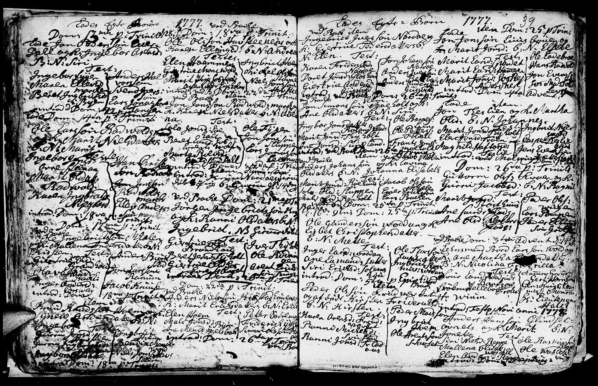 SAT, Ministerialprotokoller, klokkerbøker og fødselsregistre - Sør-Trøndelag, 606/L0305: Klokkerbok nr. 606C01, 1757-1819, s. 39