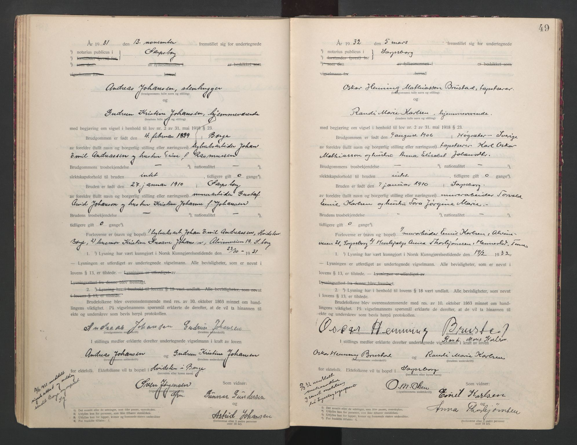 SAO, Sarpsborg byfogd, L/Lb/Lba/L0001: Vigselbok, 1920-1941, s. 49
