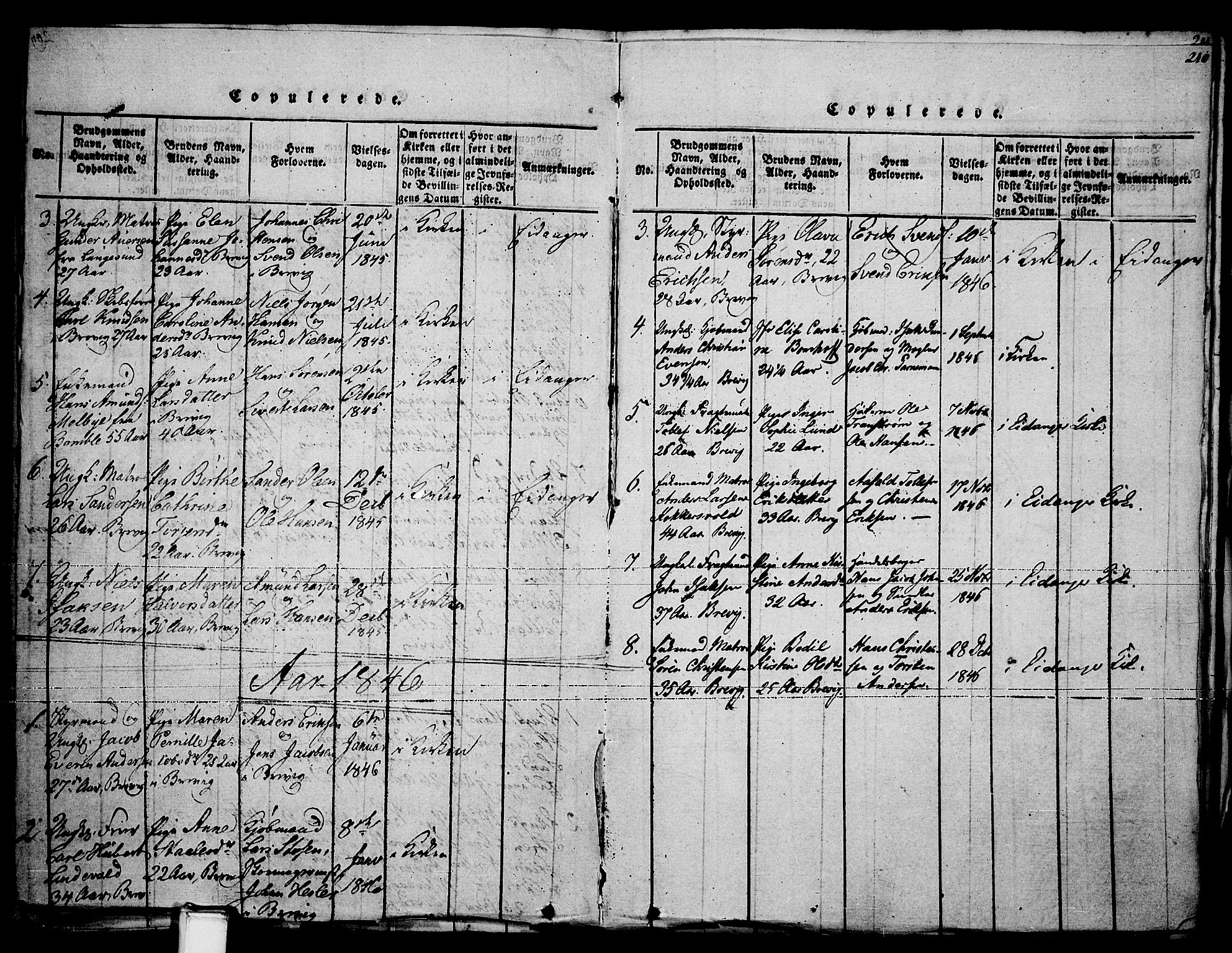 SAKO, Brevik kirkebøker, F/Fa/L0004: Ministerialbok nr. 4, 1814-1846, s. 210