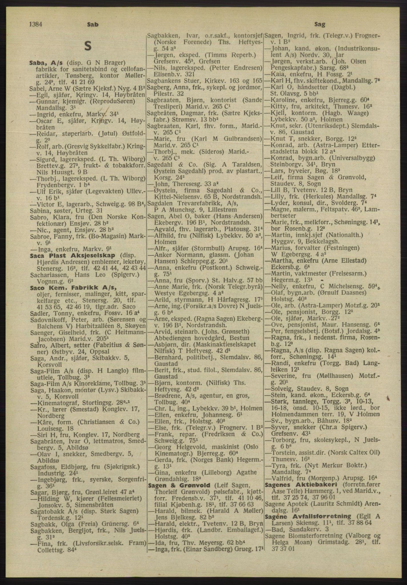 PUBL, Kristiania/Oslo adressebok, 1955, s. 1384