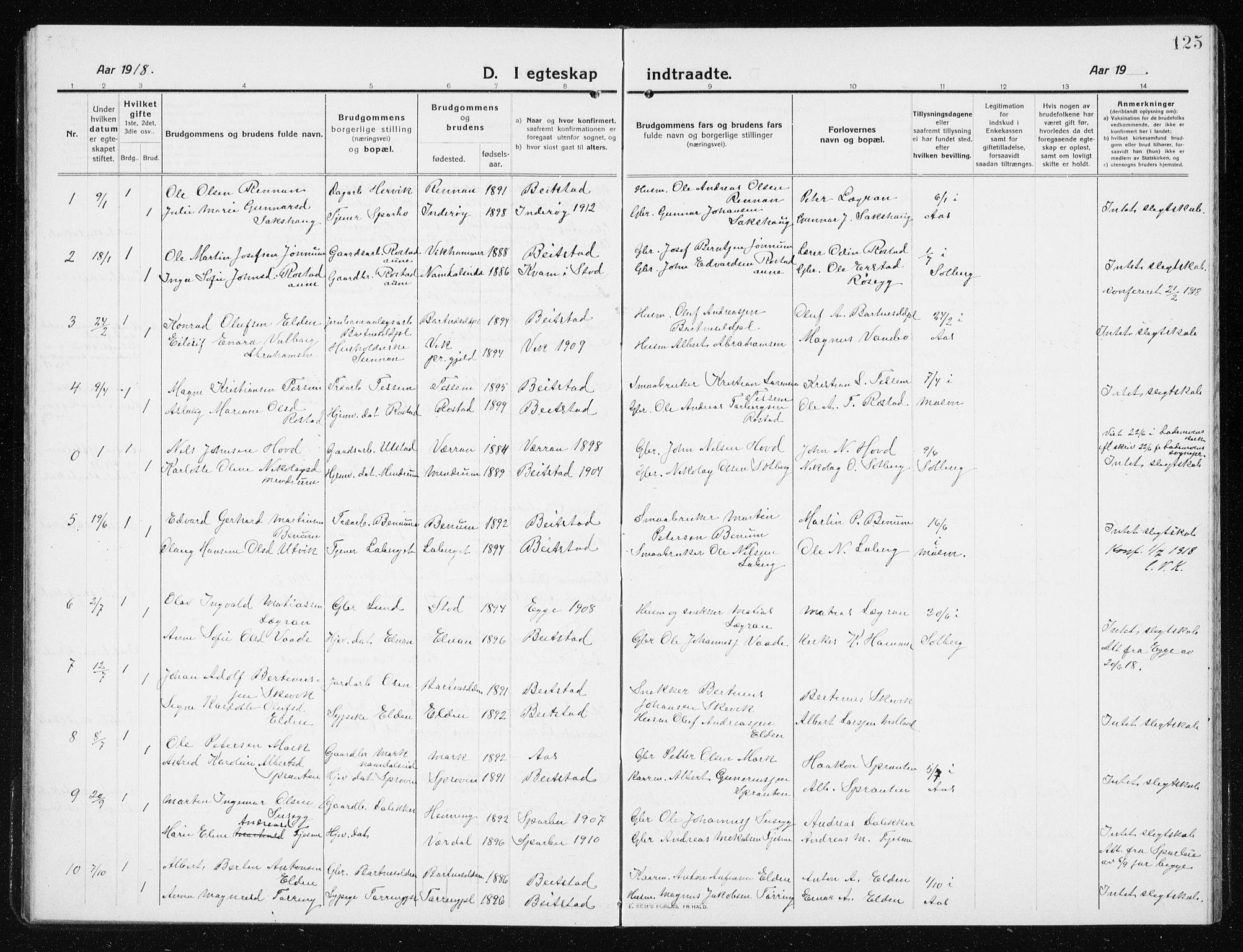 SAT, Ministerialprotokoller, klokkerbøker og fødselsregistre - Nord-Trøndelag, 741/L0402: Klokkerbok nr. 741C03, 1911-1926, s. 125
