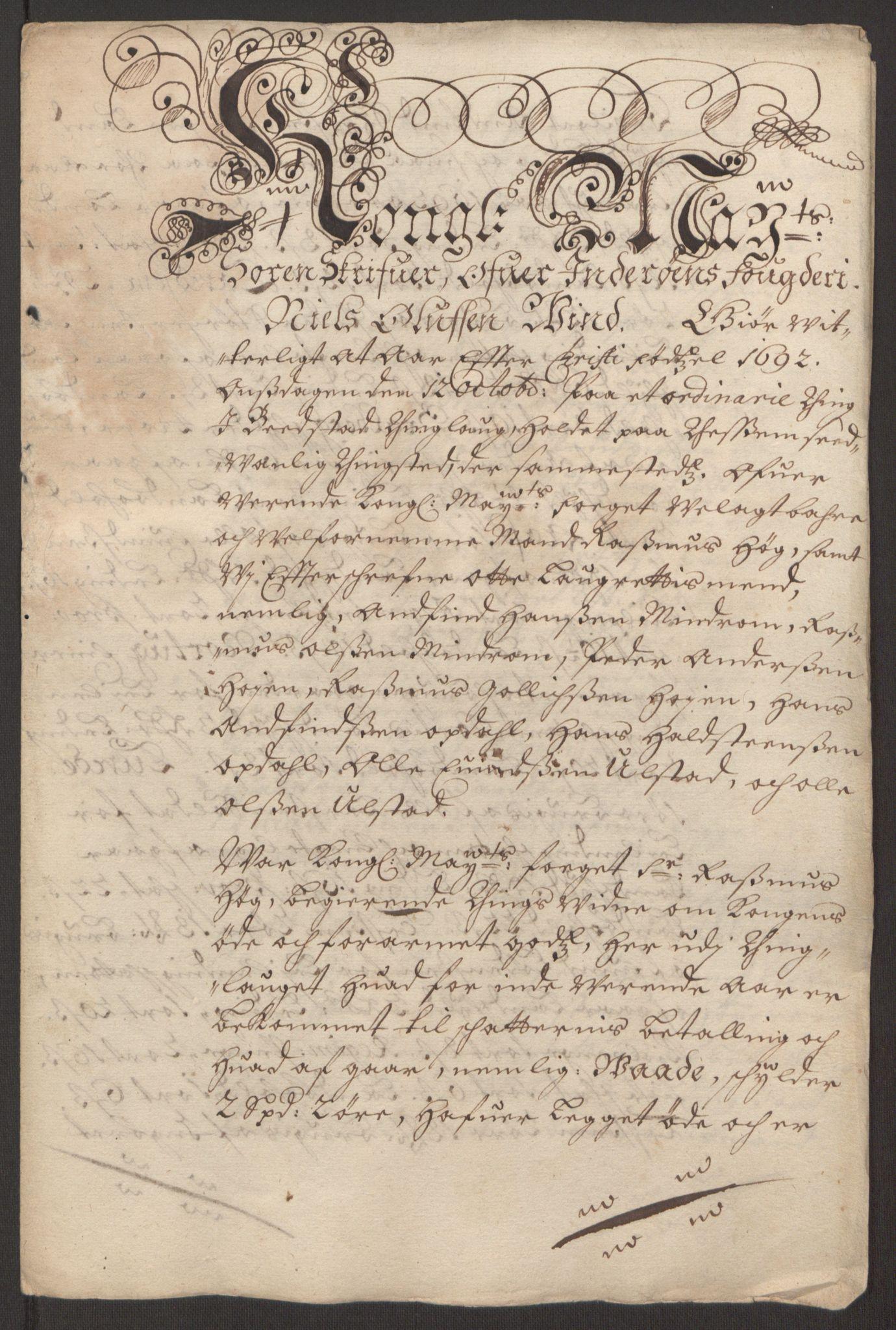 RA, Rentekammeret inntil 1814, Reviderte regnskaper, Fogderegnskap, R63/L4308: Fogderegnskap Inderøy, 1692-1694, s. 231