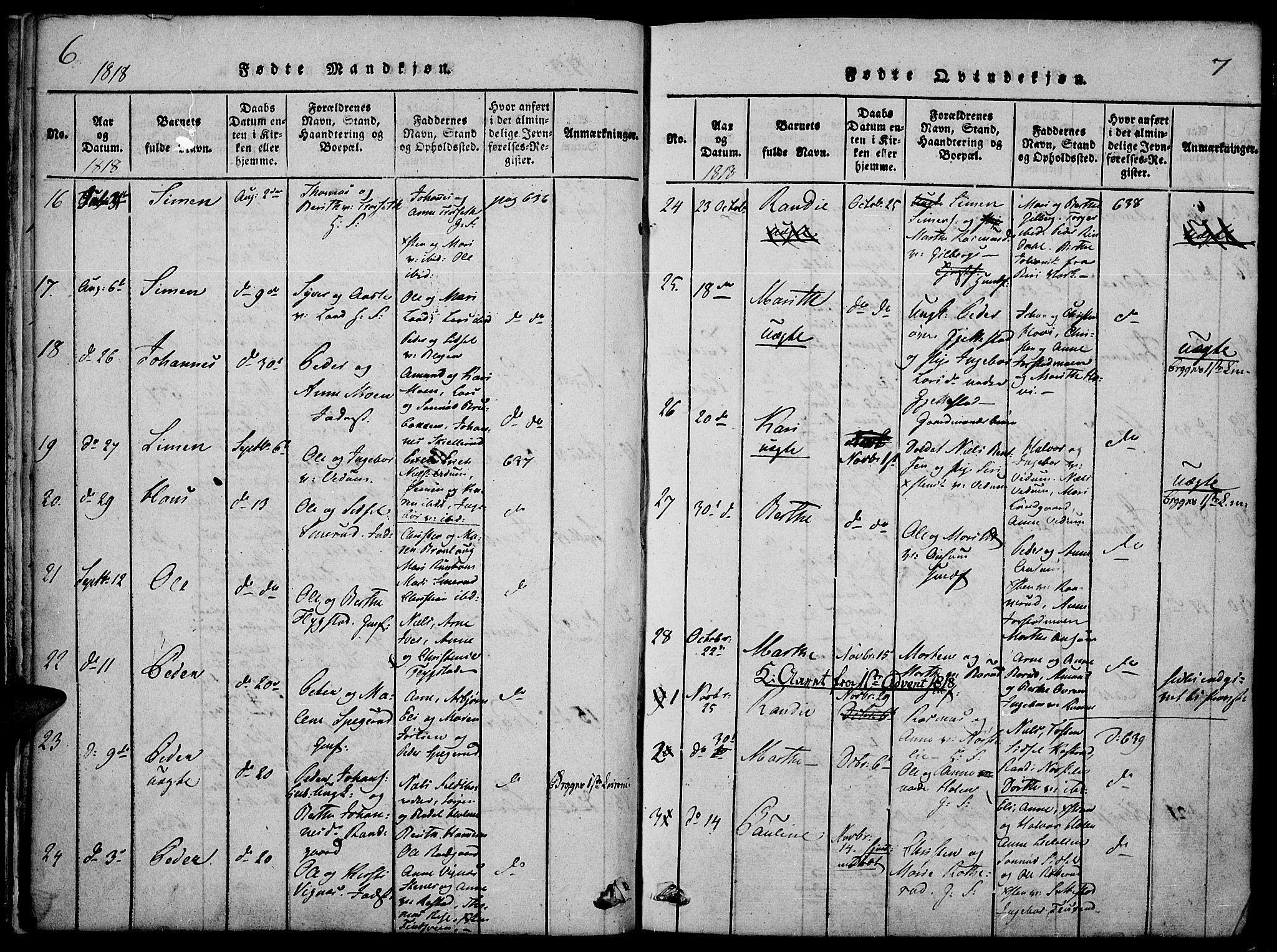 SAH, Fåberg prestekontor, Ministerialbok nr. 3, 1818-1833, s. 6-7