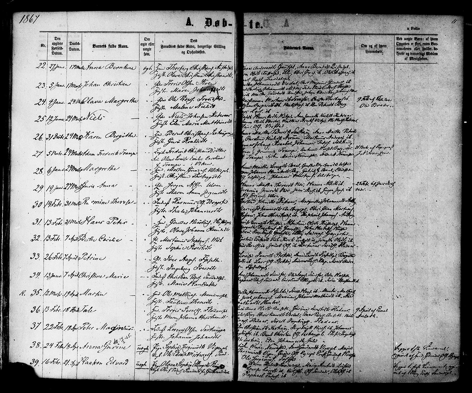 SAT, Ministerialprotokoller, klokkerbøker og fødselsregistre - Nord-Trøndelag, 730/L0284: Ministerialbok nr. 730A09, 1866-1878, s. 11