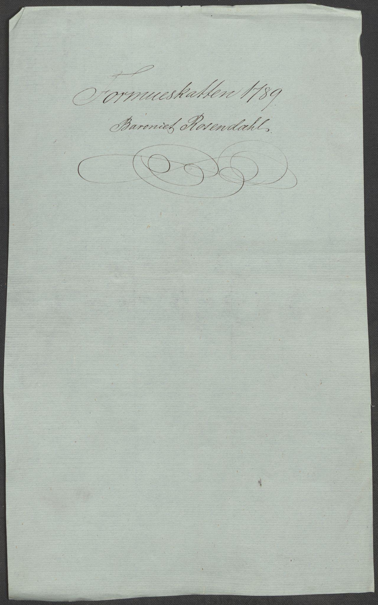RA, Rentekammeret inntil 1814, Reviderte regnskaper, Mindre regnskaper, Rf/Rfe/L0039: Rosendal baroni, Ryfylke fogderi, 1789, s. 4