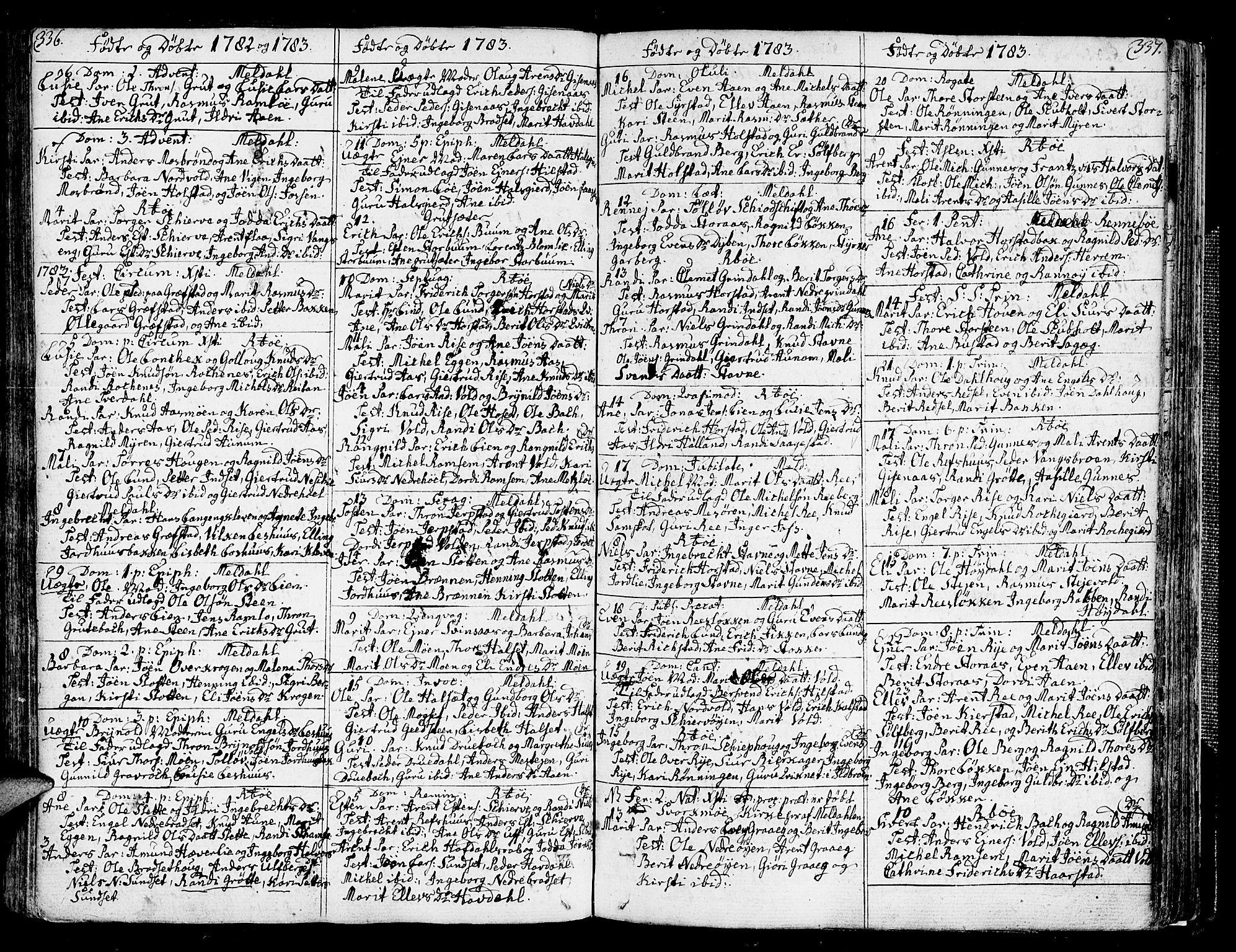 SAT, Ministerialprotokoller, klokkerbøker og fødselsregistre - Sør-Trøndelag, 672/L0852: Ministerialbok nr. 672A05, 1776-1815, s. 336-337