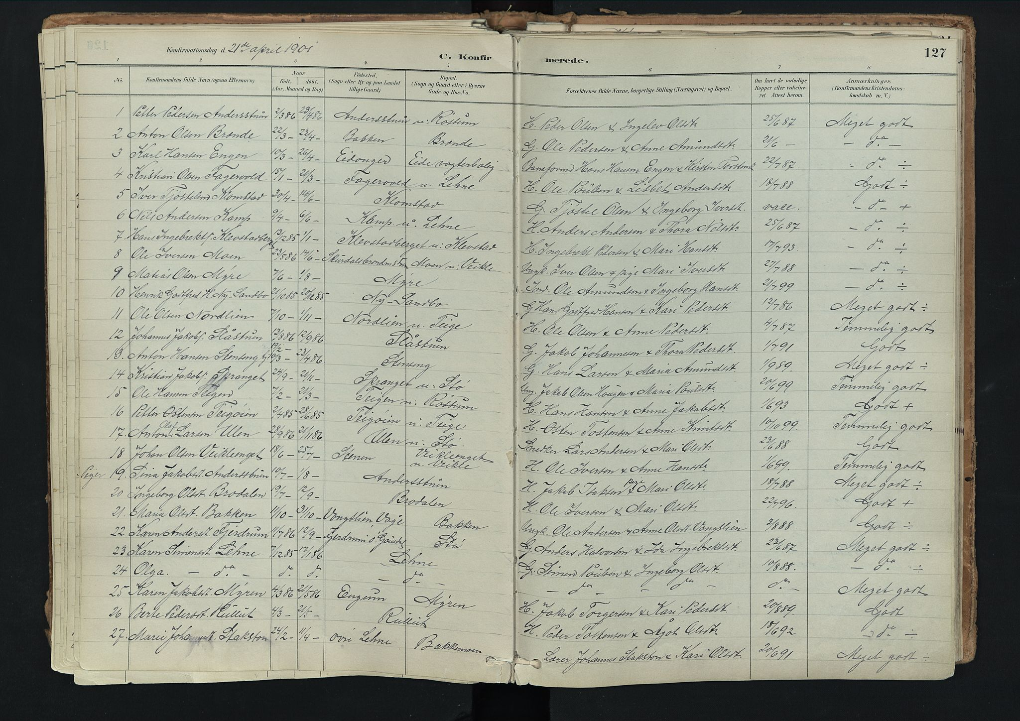 SAH, Nord-Fron prestekontor, Ministerialbok nr. 3, 1884-1914, s. 127