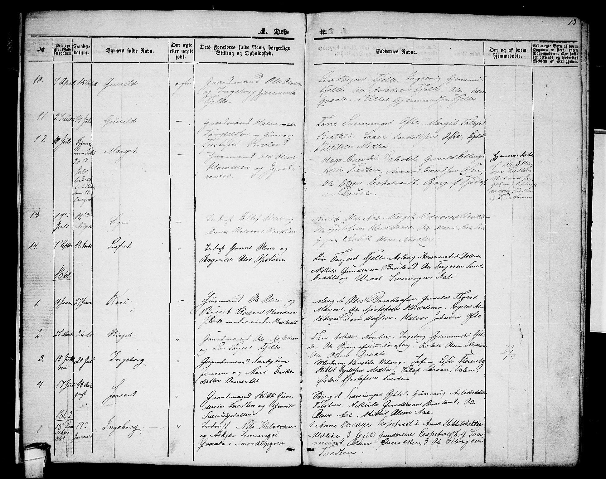 SAKO, Lårdal kirkebøker, G/Gc/L0002: Klokkerbok nr. III 2, 1852-1877, s. 13