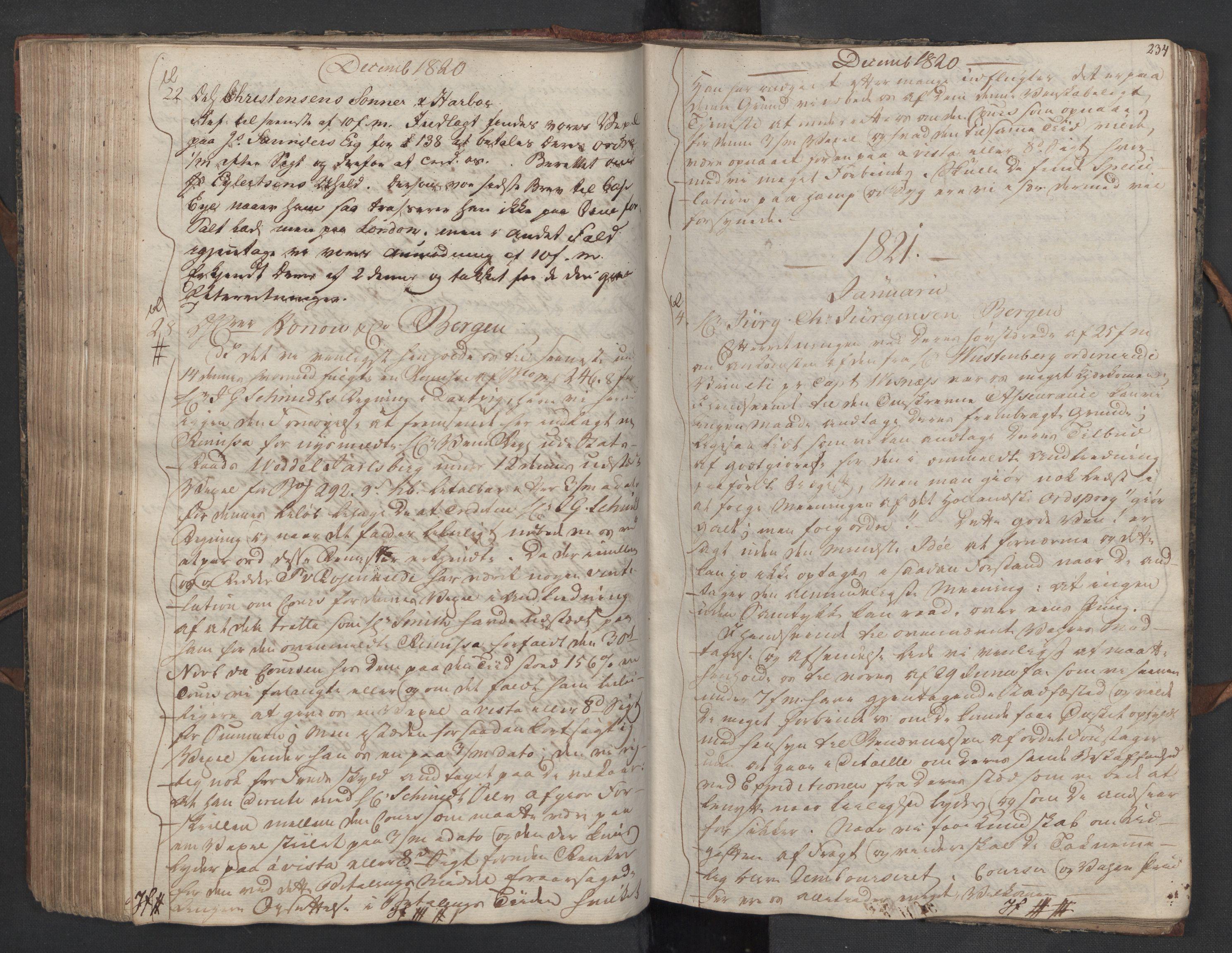 SAST, Pa 0003 - Ploug & Sundt, handelshuset, B/L0010: Kopibok, 1816-1822, s. 233b-234a