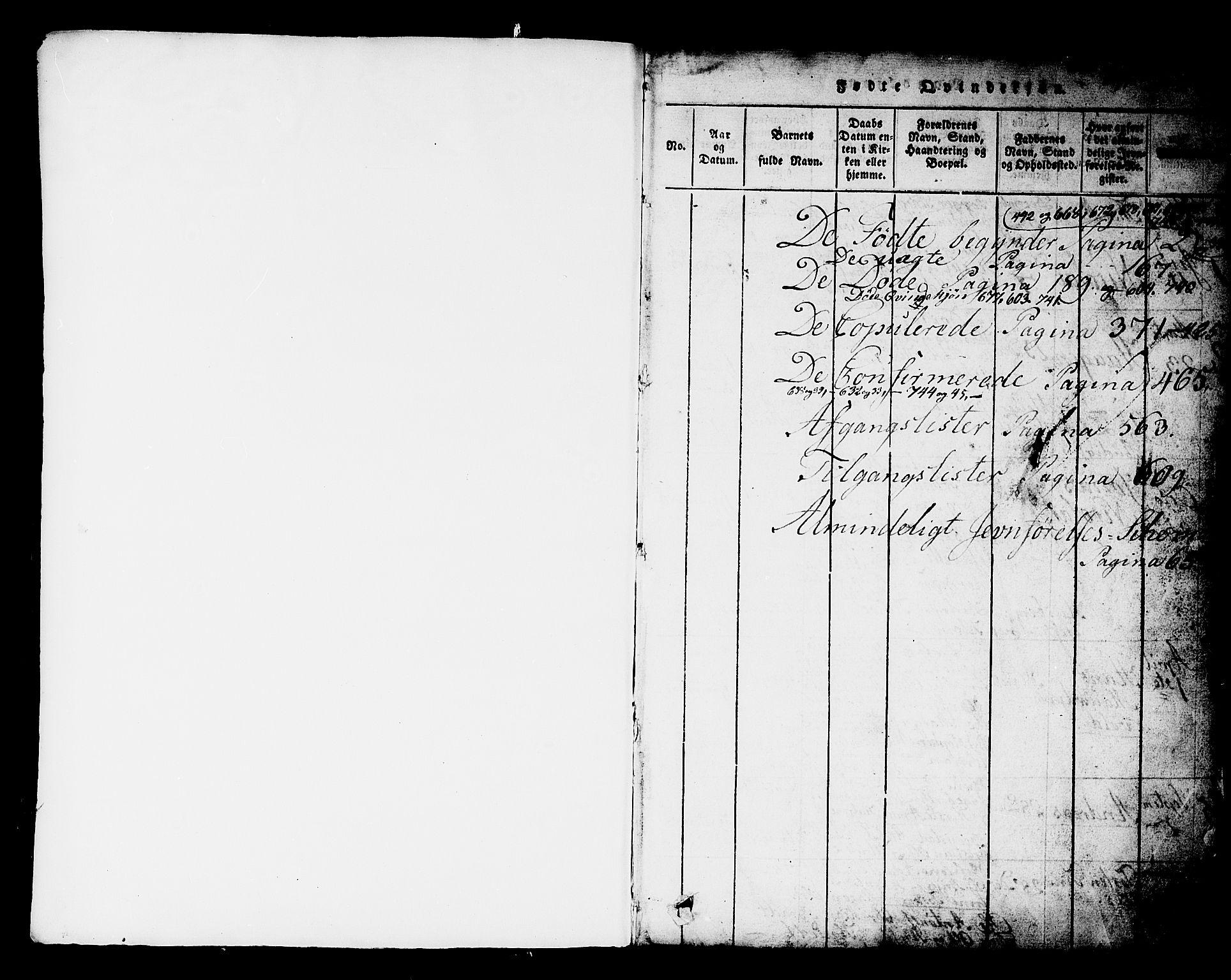 SAKO, Kongsberg kirkebøker, G/Ga/L0001: Klokkerbok nr. 1, 1816-1839, s. 0-1