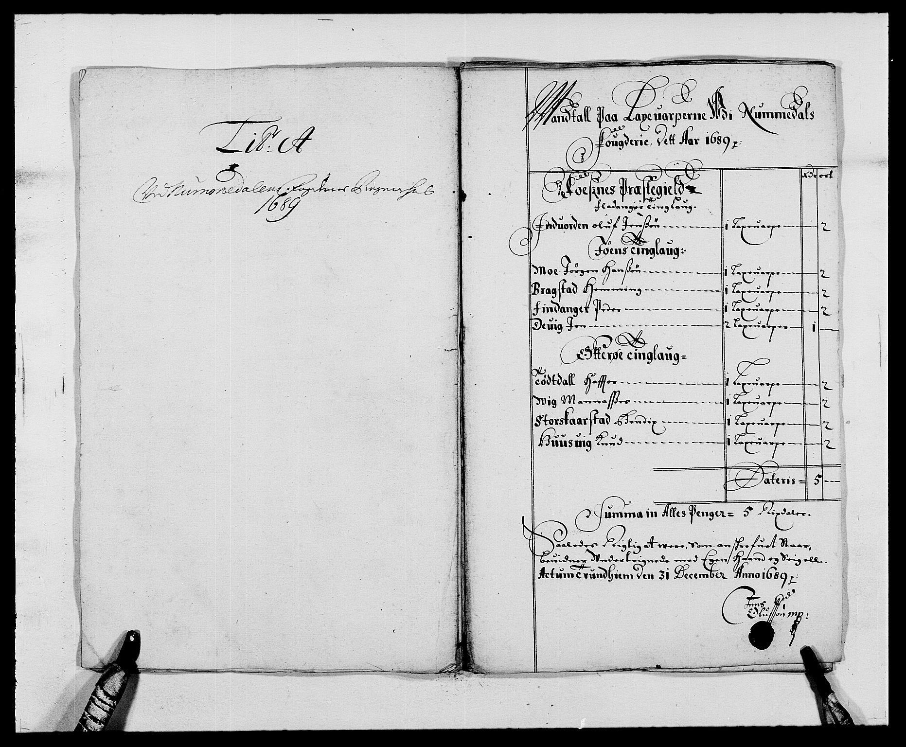 RA, Rentekammeret inntil 1814, Reviderte regnskaper, Fogderegnskap, R64/L4422: Fogderegnskap Namdal, 1687-1689, s. 208