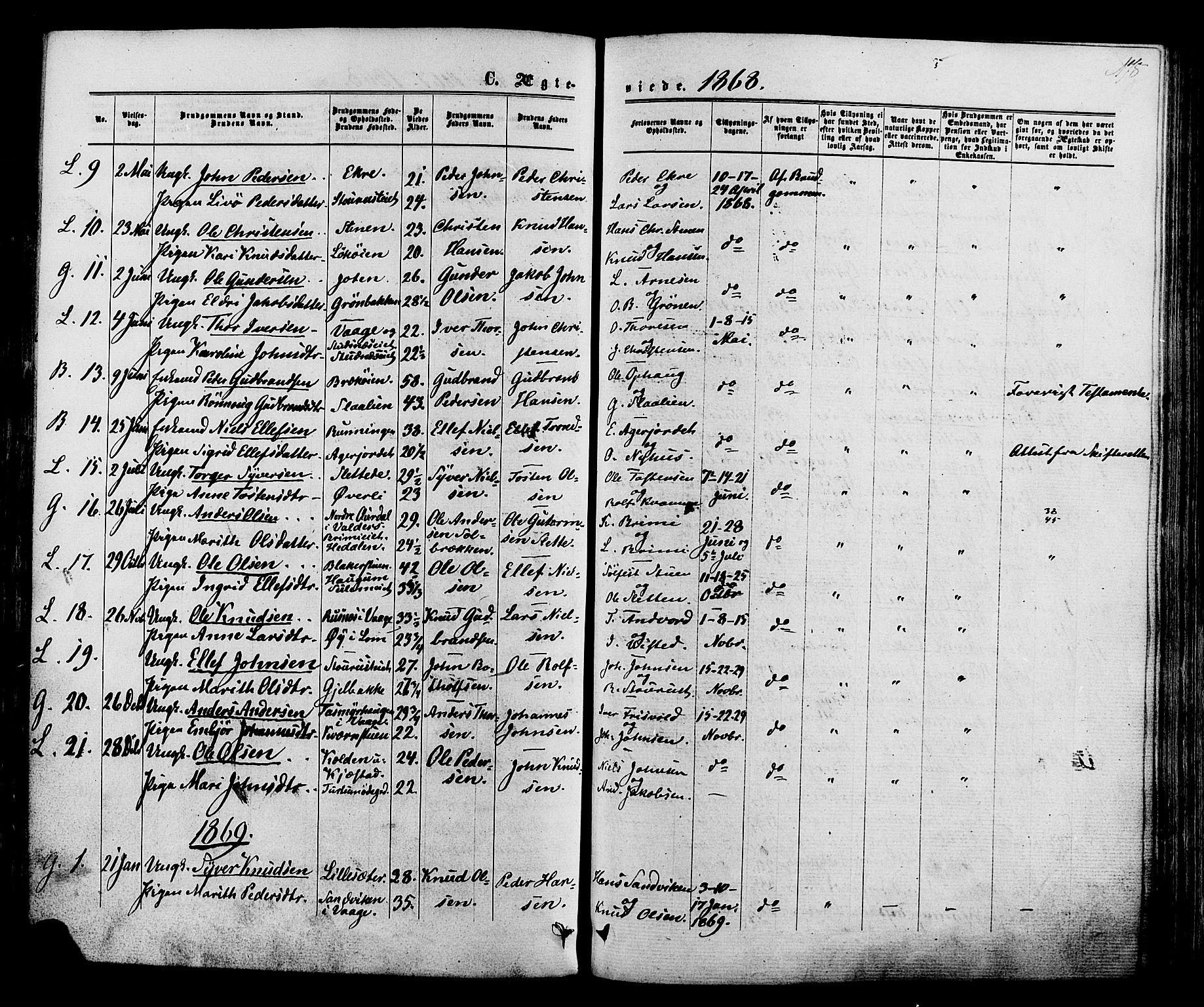SAH, Lom prestekontor, K/L0007: Ministerialbok nr. 7, 1863-1884, s. 178