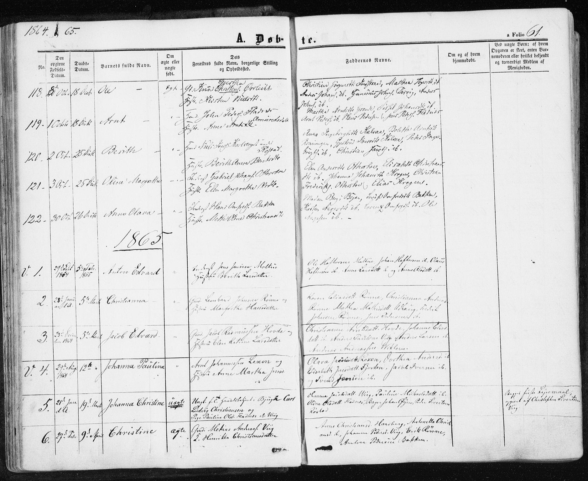 SAT, Ministerialprotokoller, klokkerbøker og fødselsregistre - Sør-Trøndelag, 659/L0737: Ministerialbok nr. 659A07, 1857-1875, s. 61