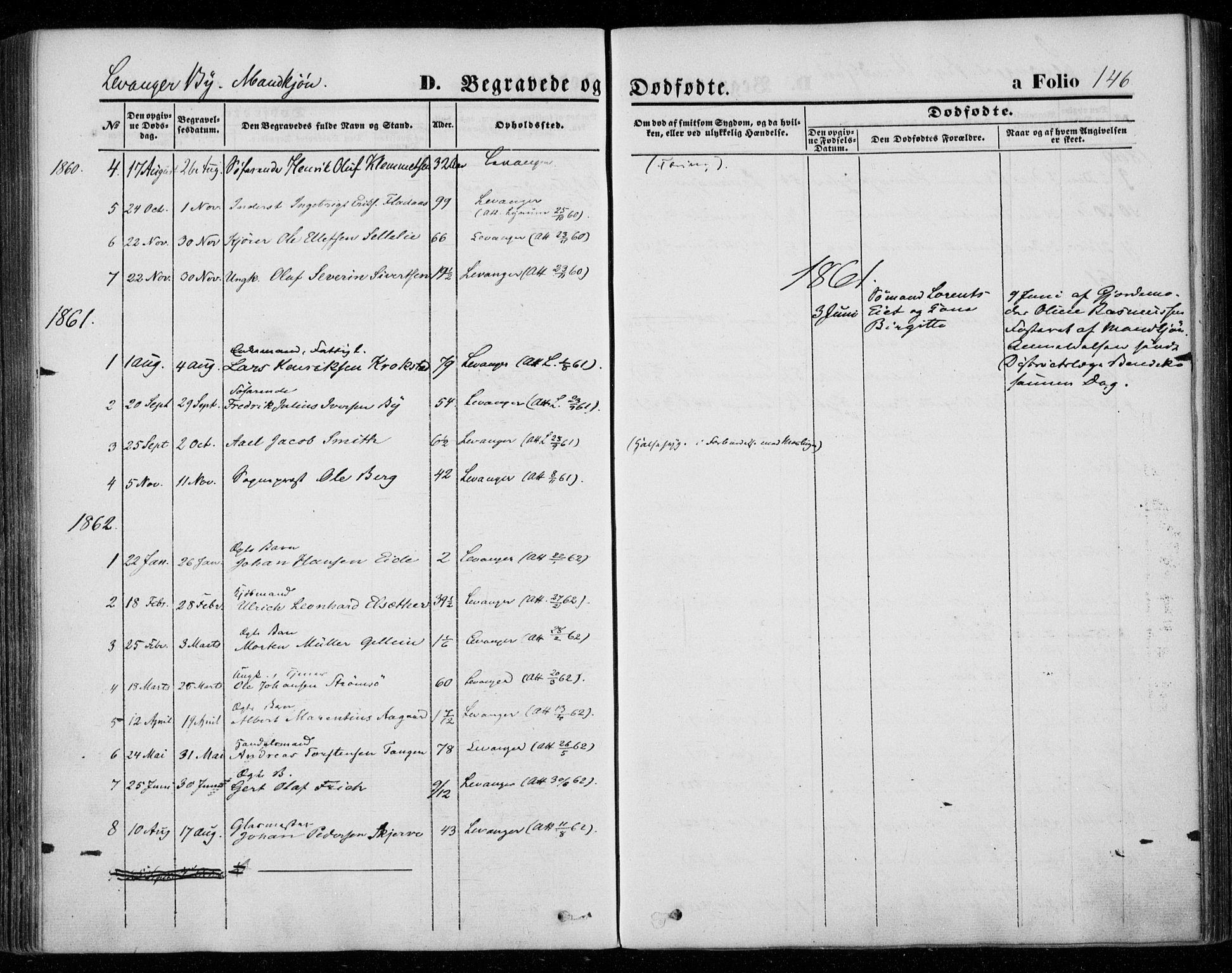 SAT, Ministerialprotokoller, klokkerbøker og fødselsregistre - Nord-Trøndelag, 720/L0184: Ministerialbok nr. 720A02 /1, 1855-1863, s. 146