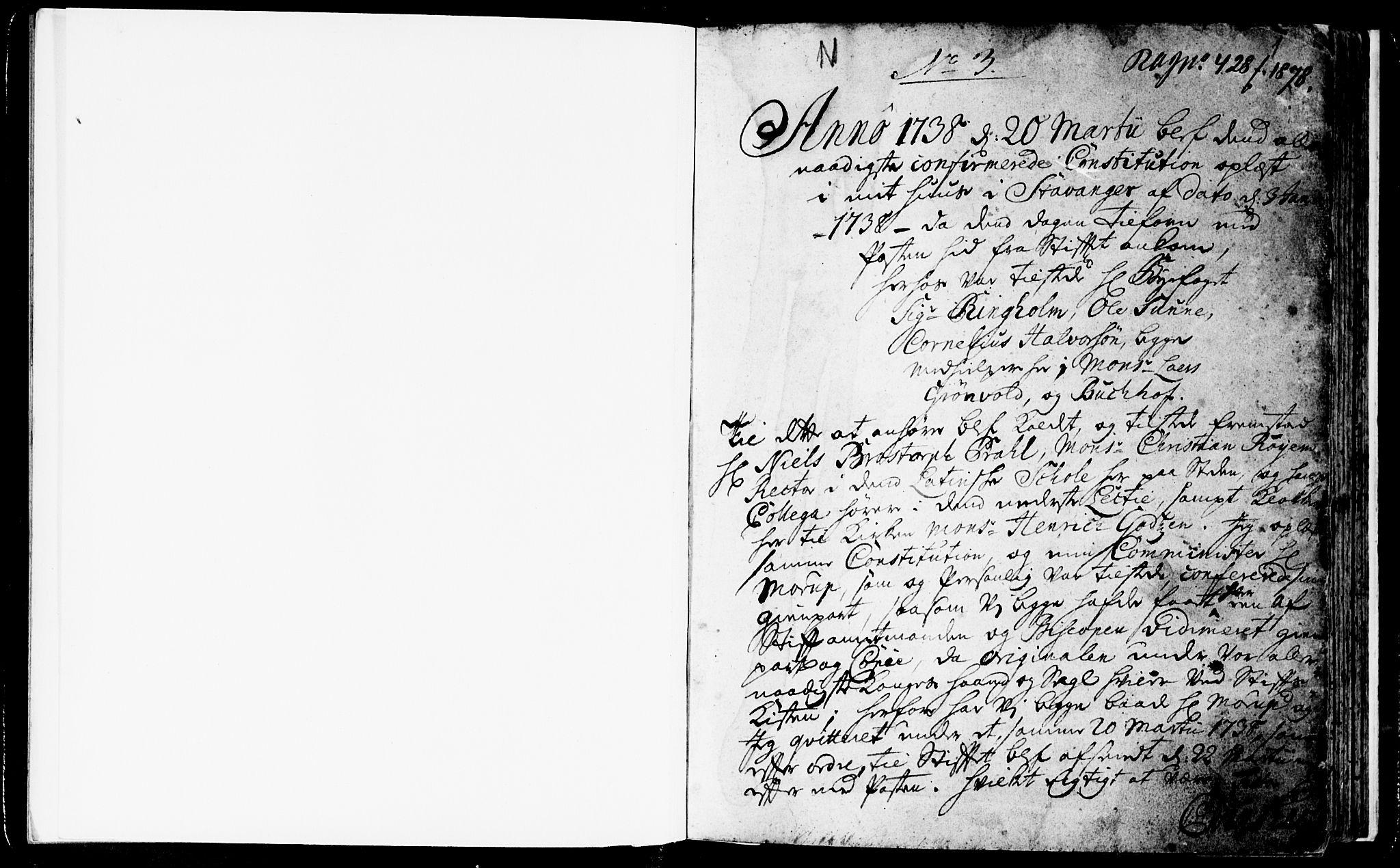 SAST, Domkirken sokneprestkontor, 30/30BA/L0003: Ministerialbok nr. A 3 /1, 1738-1760, s. 1