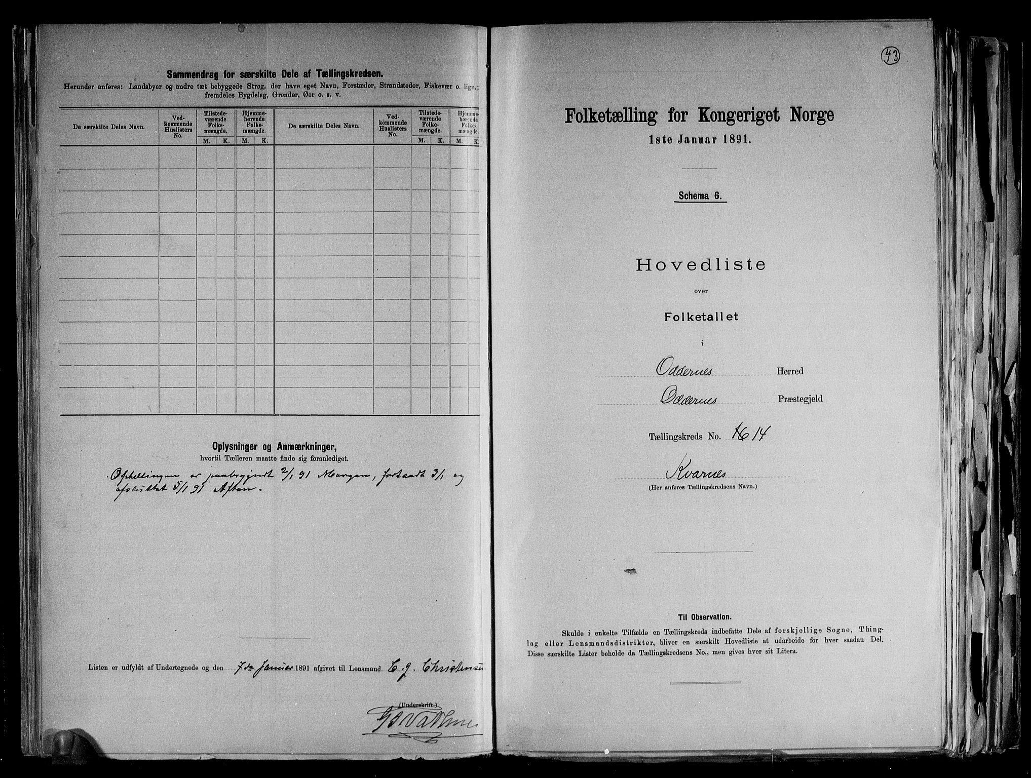 RA, Folketelling 1891 for 1012 Oddernes herred, 1891, s. 31
