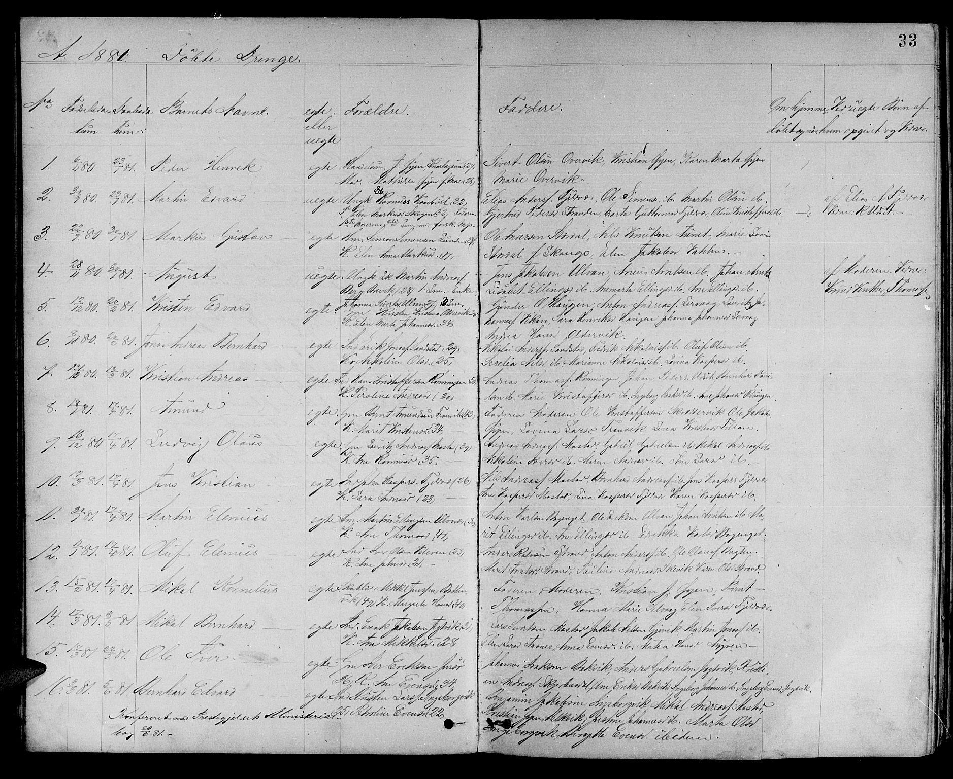 SAT, Ministerialprotokoller, klokkerbøker og fødselsregistre - Sør-Trøndelag, 637/L0561: Klokkerbok nr. 637C02, 1873-1882, s. 33