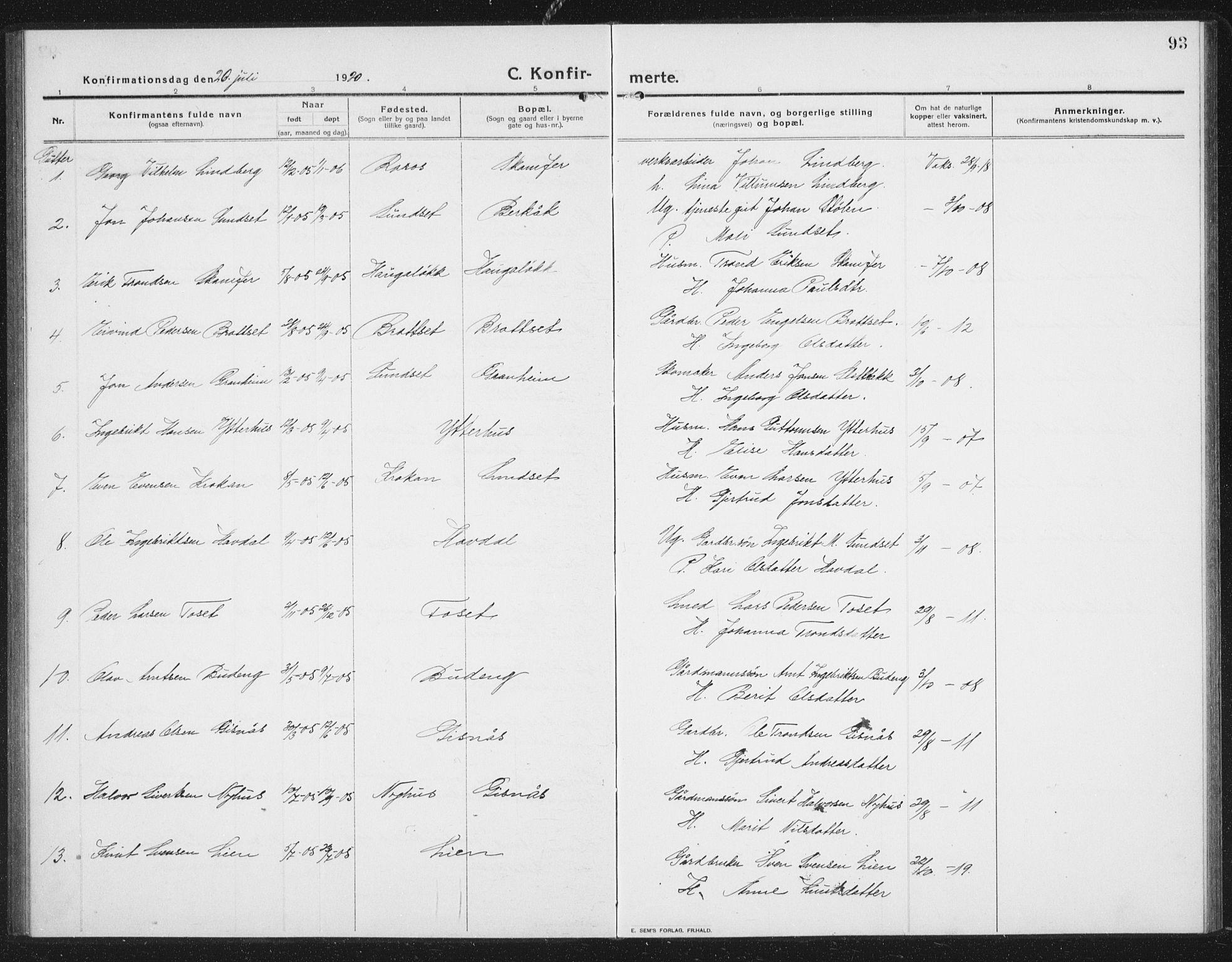SAT, Ministerialprotokoller, klokkerbøker og fødselsregistre - Sør-Trøndelag, 675/L0888: Klokkerbok nr. 675C01, 1913-1935, s. 93