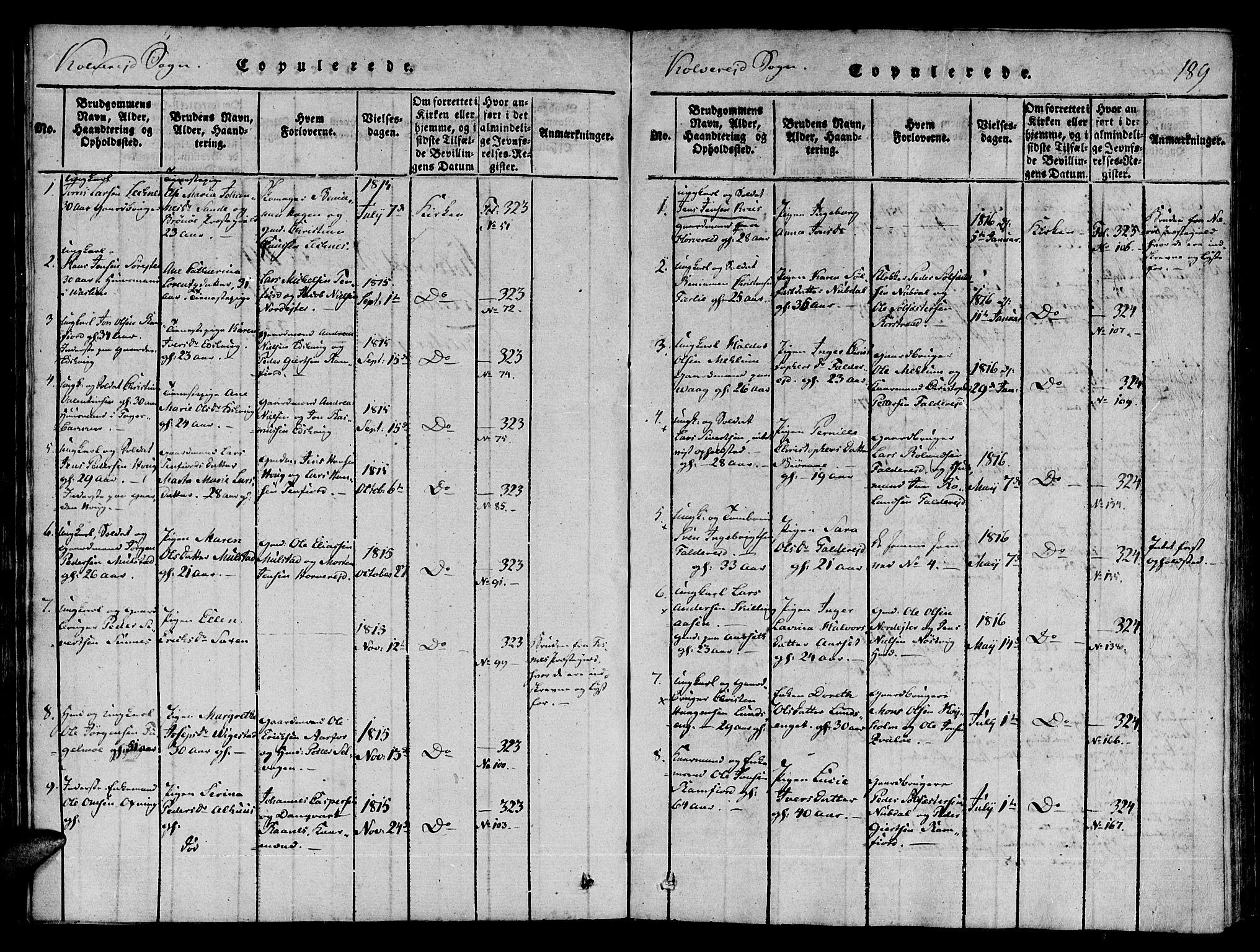 SAT, Ministerialprotokoller, klokkerbøker og fødselsregistre - Nord-Trøndelag, 780/L0636: Ministerialbok nr. 780A03 /1, 1815-1830, s. 189