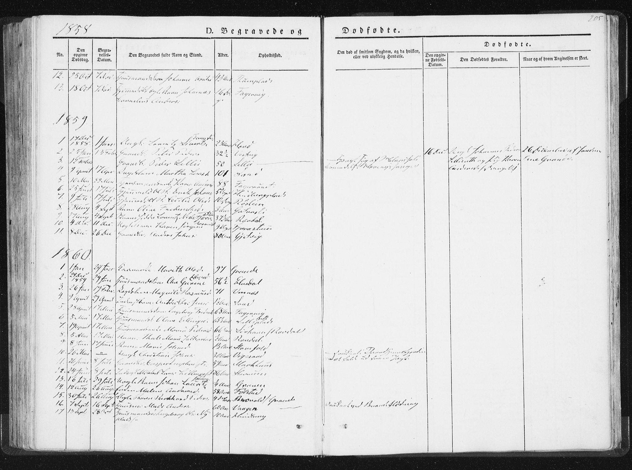 SAT, Ministerialprotokoller, klokkerbøker og fødselsregistre - Nord-Trøndelag, 744/L0418: Ministerialbok nr. 744A02, 1843-1866, s. 205