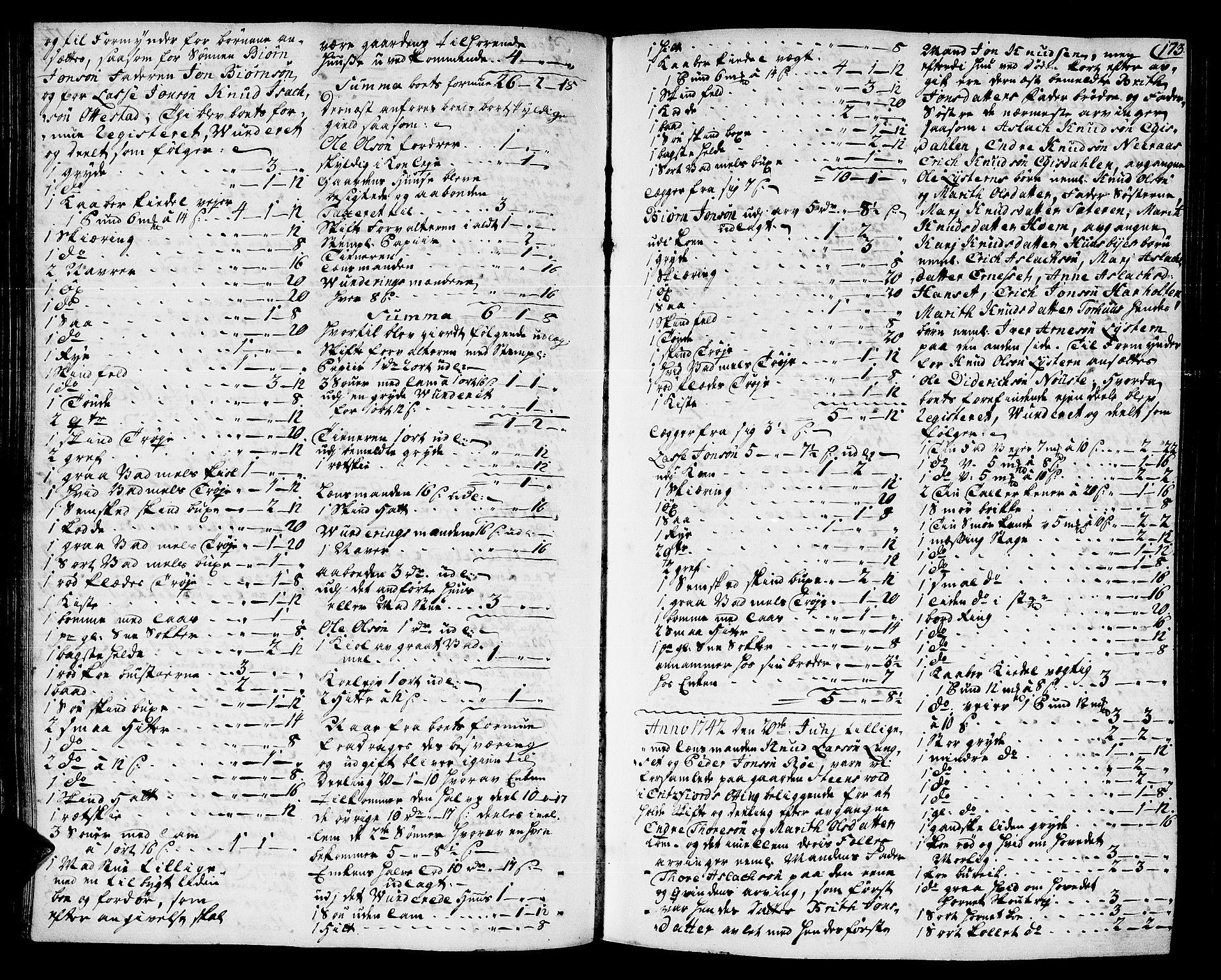 SAT, Romsdal sorenskriveri, 3/3A/L0007: Skifteprotokoll, 1740-1751, s. 172b-173a