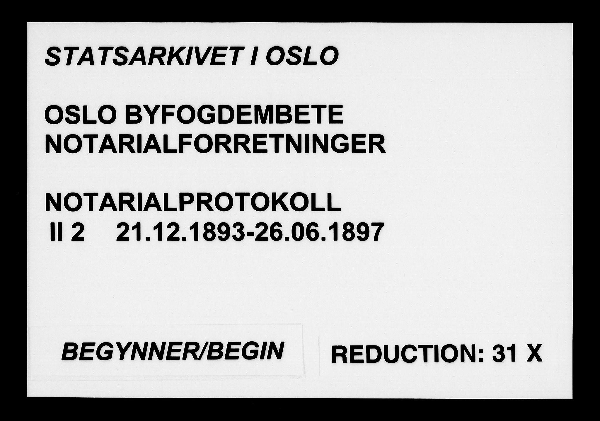 SAO, Oslo byfogd avd. I, L/Lb/Lbb/L0002: Notarialprotokoll, rekke II: Vigsler, 1893-1897, s. upaginert