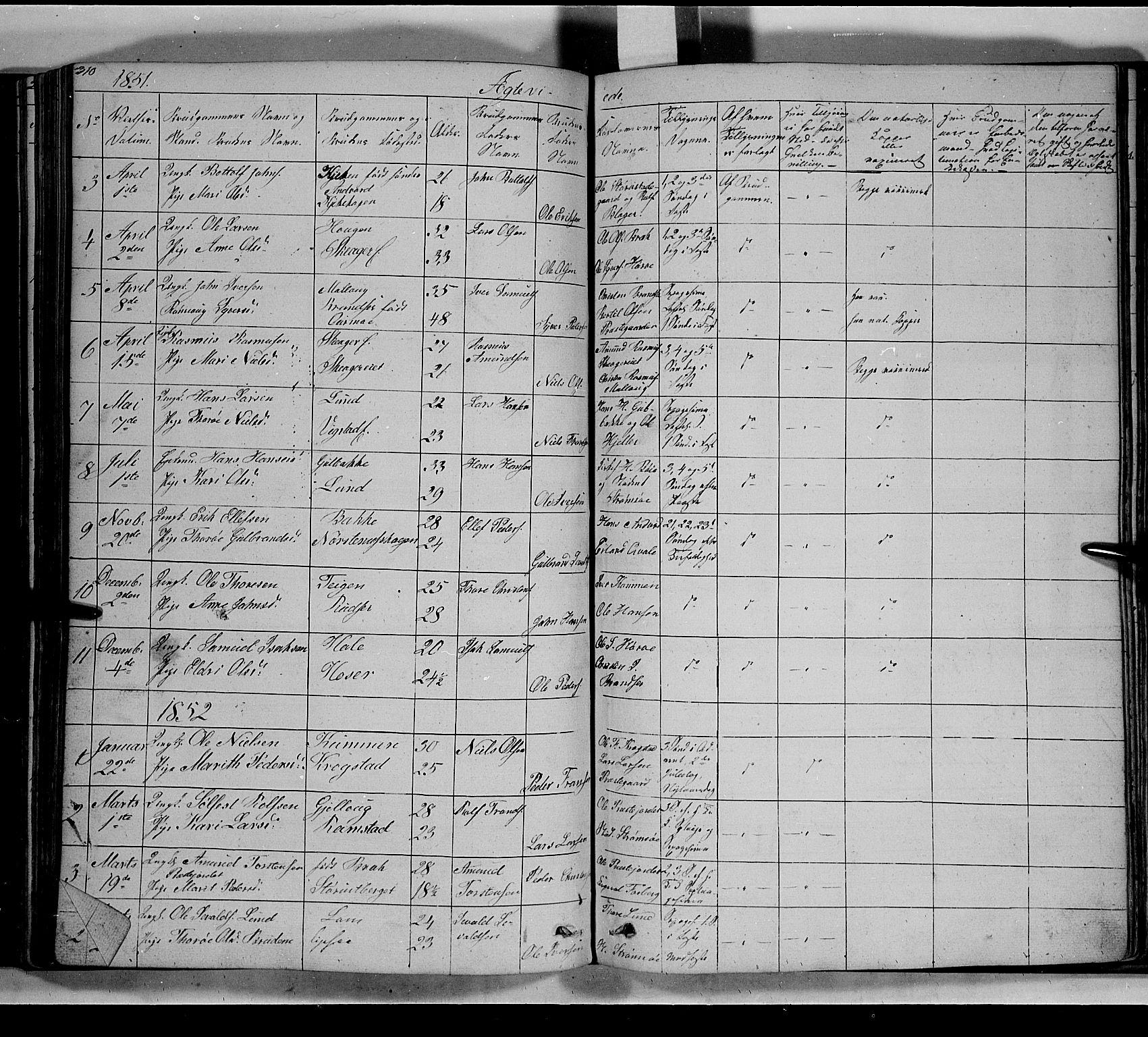 SAH, Lom prestekontor, L/L0004: Klokkerbok nr. 4, 1845-1864, s. 310-311