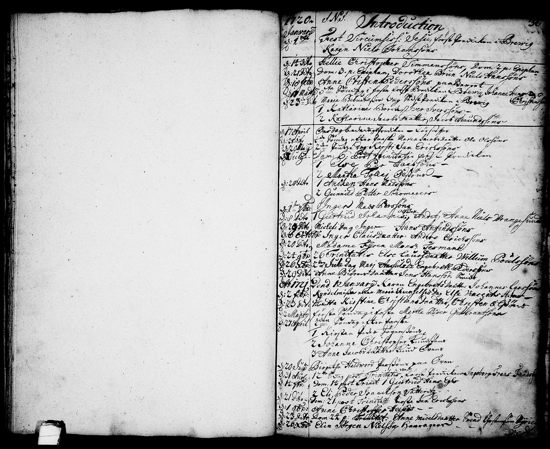 SAKO, Brevik kirkebøker, F/Fa/L0002: Ministerialbok nr. 2, 1720-1764, s. 36
