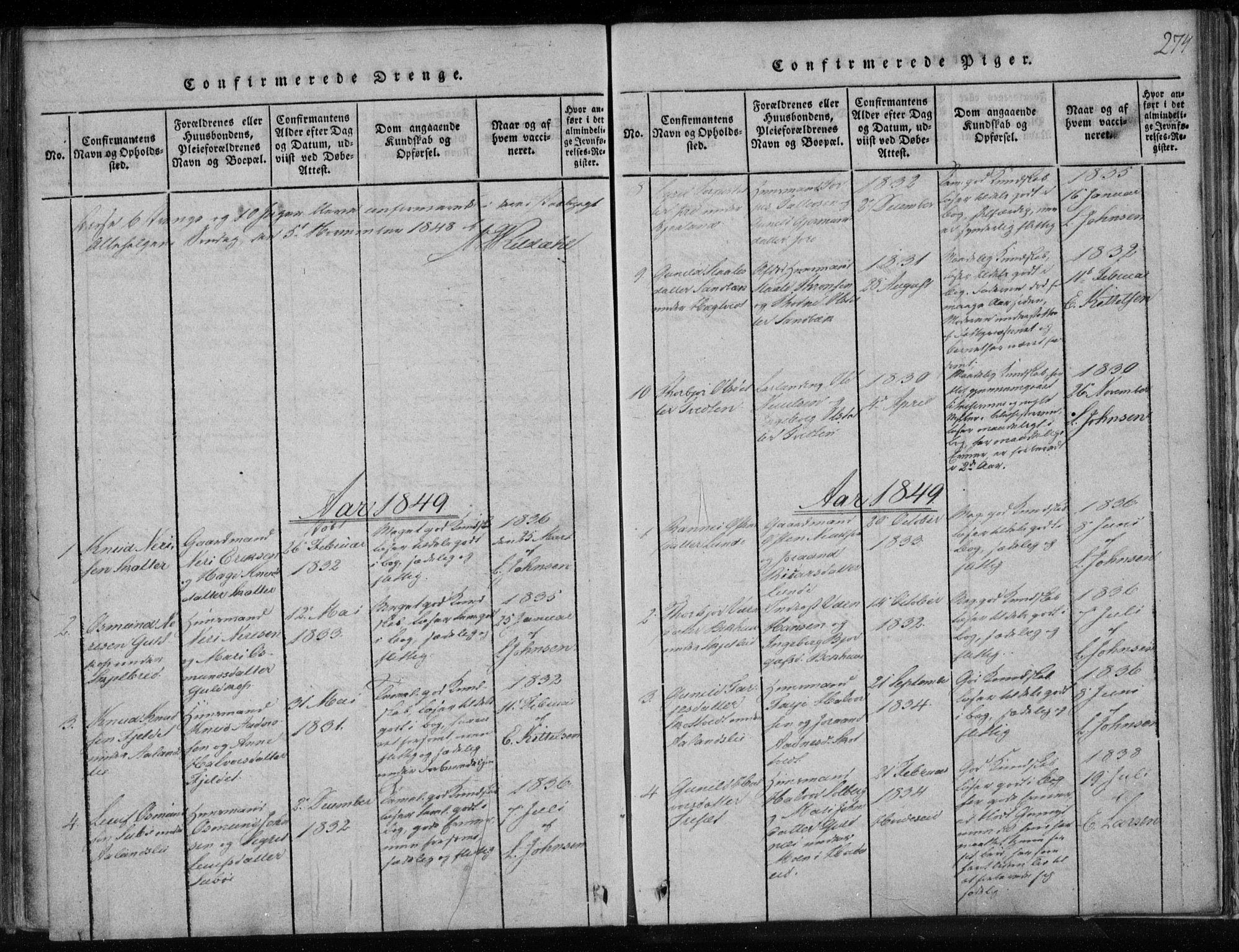 SAKO, Lårdal kirkebøker, F/Fa/L0005: Ministerialbok nr. I 5, 1815-1860, s. 274