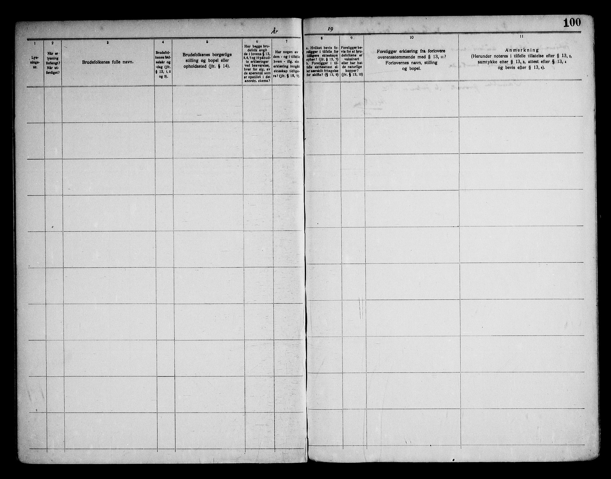 SAKO, Kragerø kirkebøker, H/Ha/L0002: Lysningsprotokoll nr. I 2, 1919-1953, s. 100