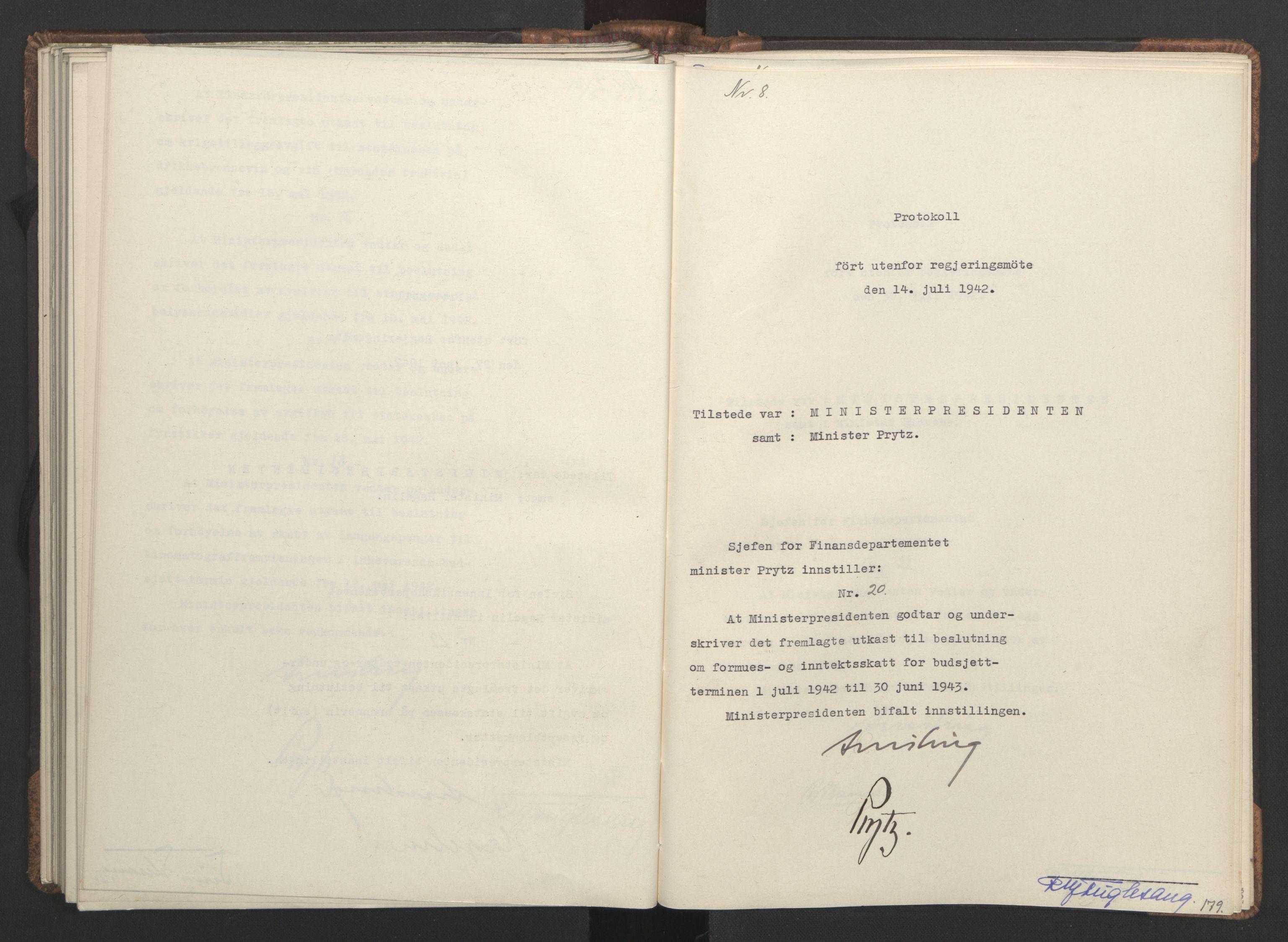 RA, NS-administrasjonen 1940-1945 (Statsrådsekretariatet, de kommisariske statsråder mm), D/Da/L0001: Beslutninger og tillegg (1-952 og 1-32), 1942, s. 178b-179a